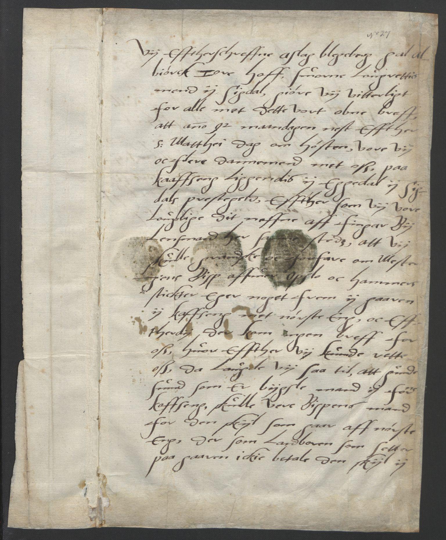 SAO, Oslo stiftsdireksjon, G/Gb/L0001: Bispestolens dokumenter, 1584-1612, s. 27