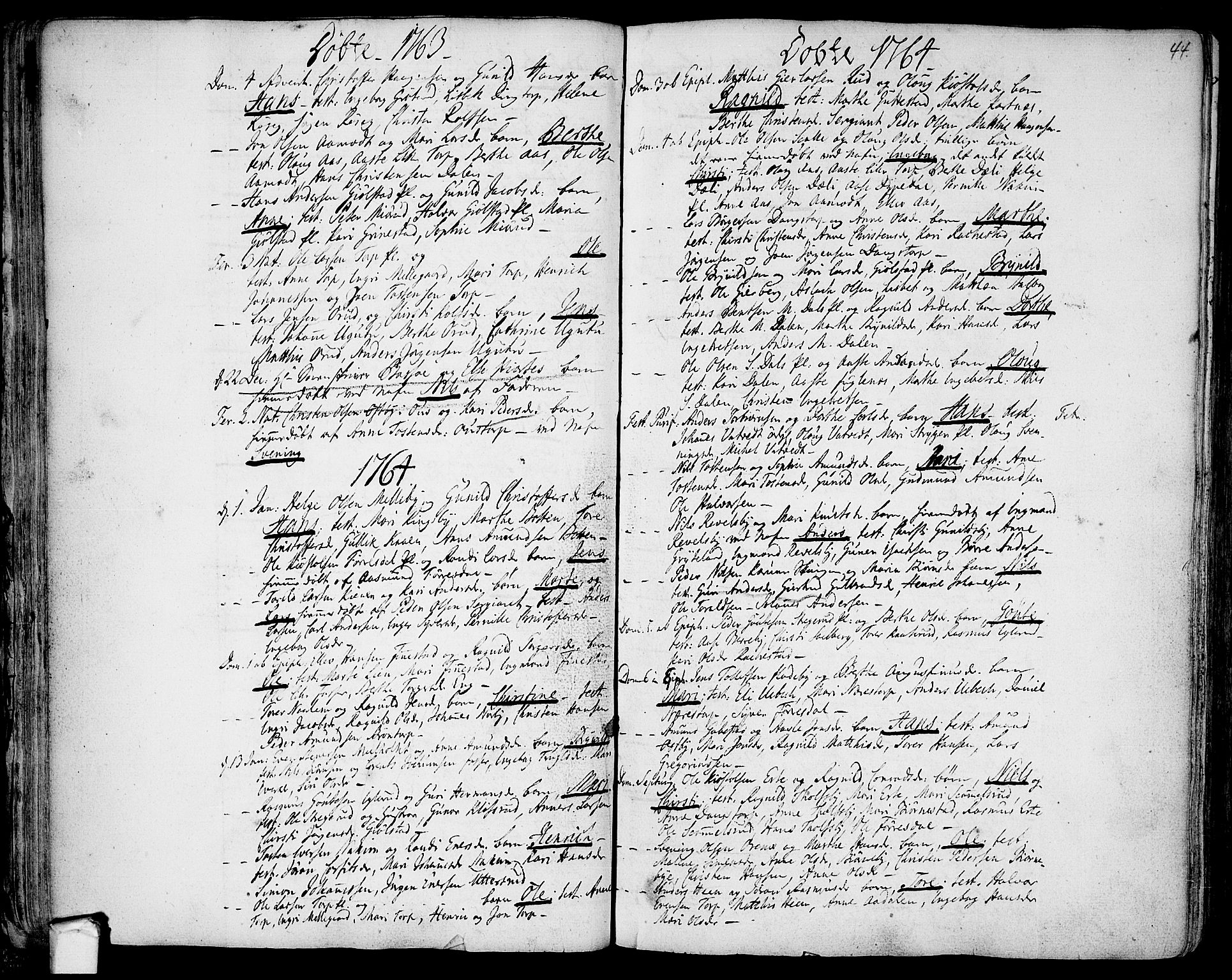 SAO, Rakkestad prestekontor Kirkebøker, F/Fa/L0003: Ministerialbok nr. I 3, 1752-1777, s. 44