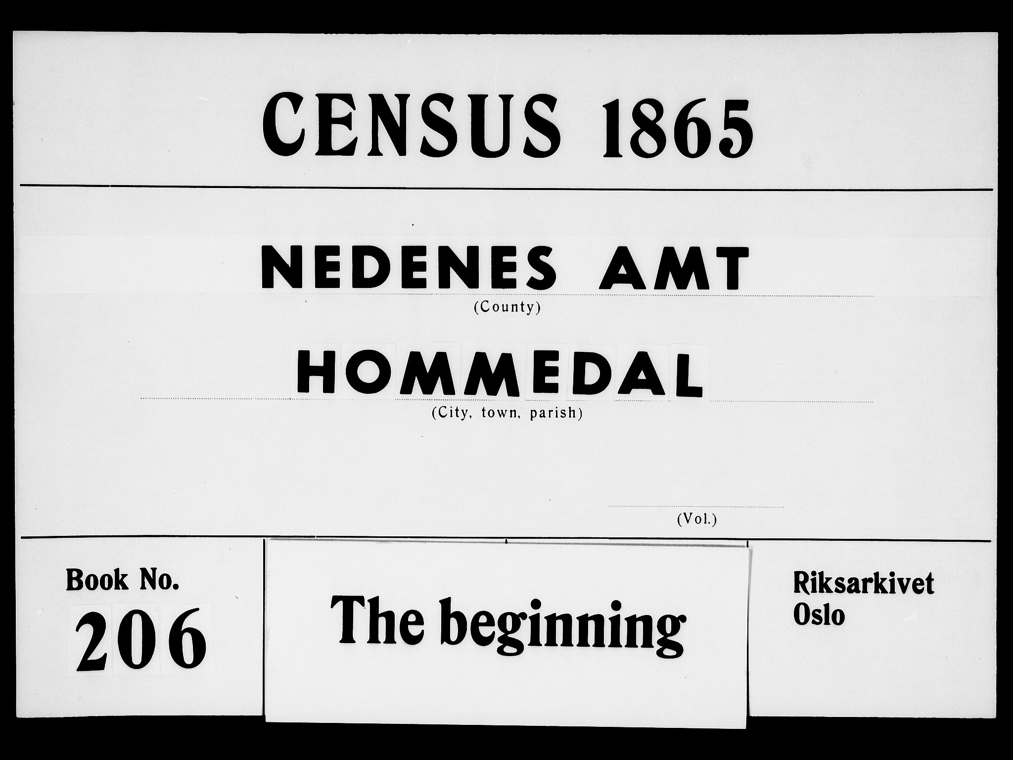 RA, Folketelling 1865 for 0924P Homedal prestegjeld, 1865, s. 1