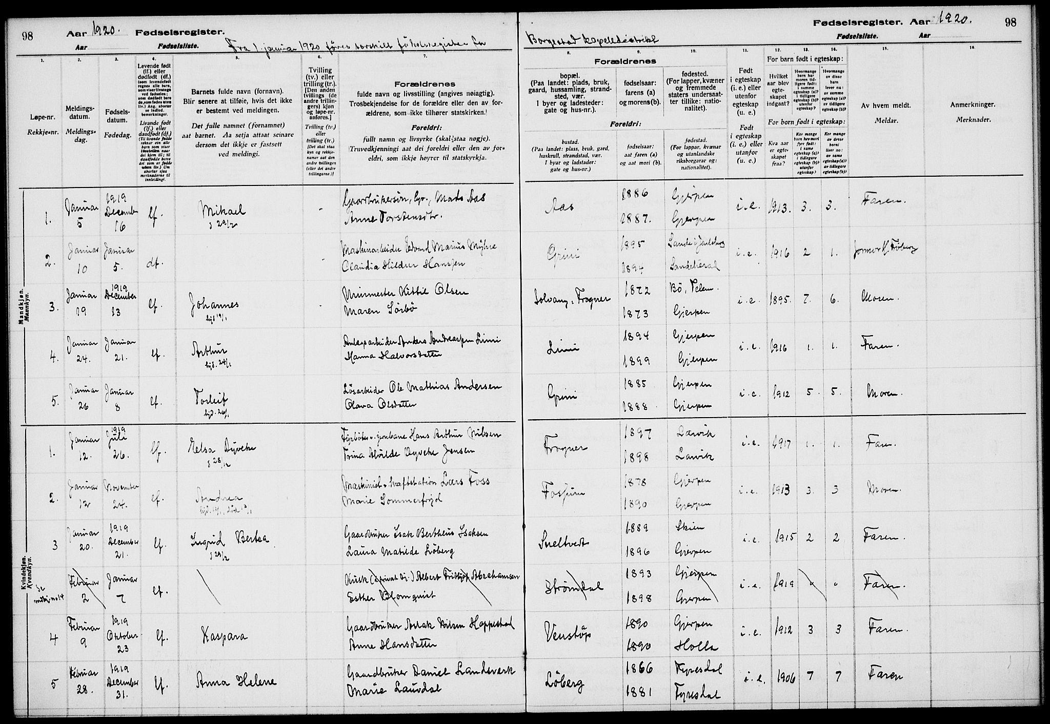 SAKO, Gjerpen kirkebøker, J/Ja/L0001: Fødselsregister nr. 1, 1916-1926, s. 98