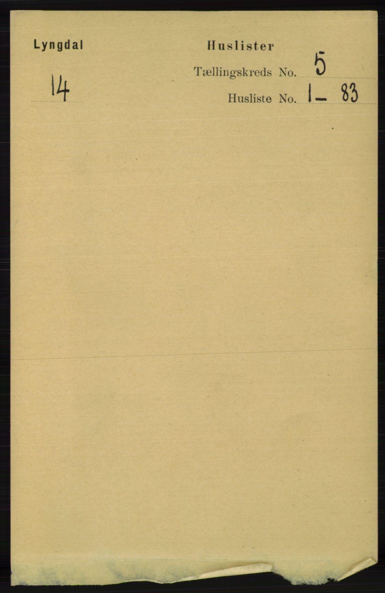 RA, Folketelling 1891 for 1032 Lyngdal herred, 1891, s. 1797