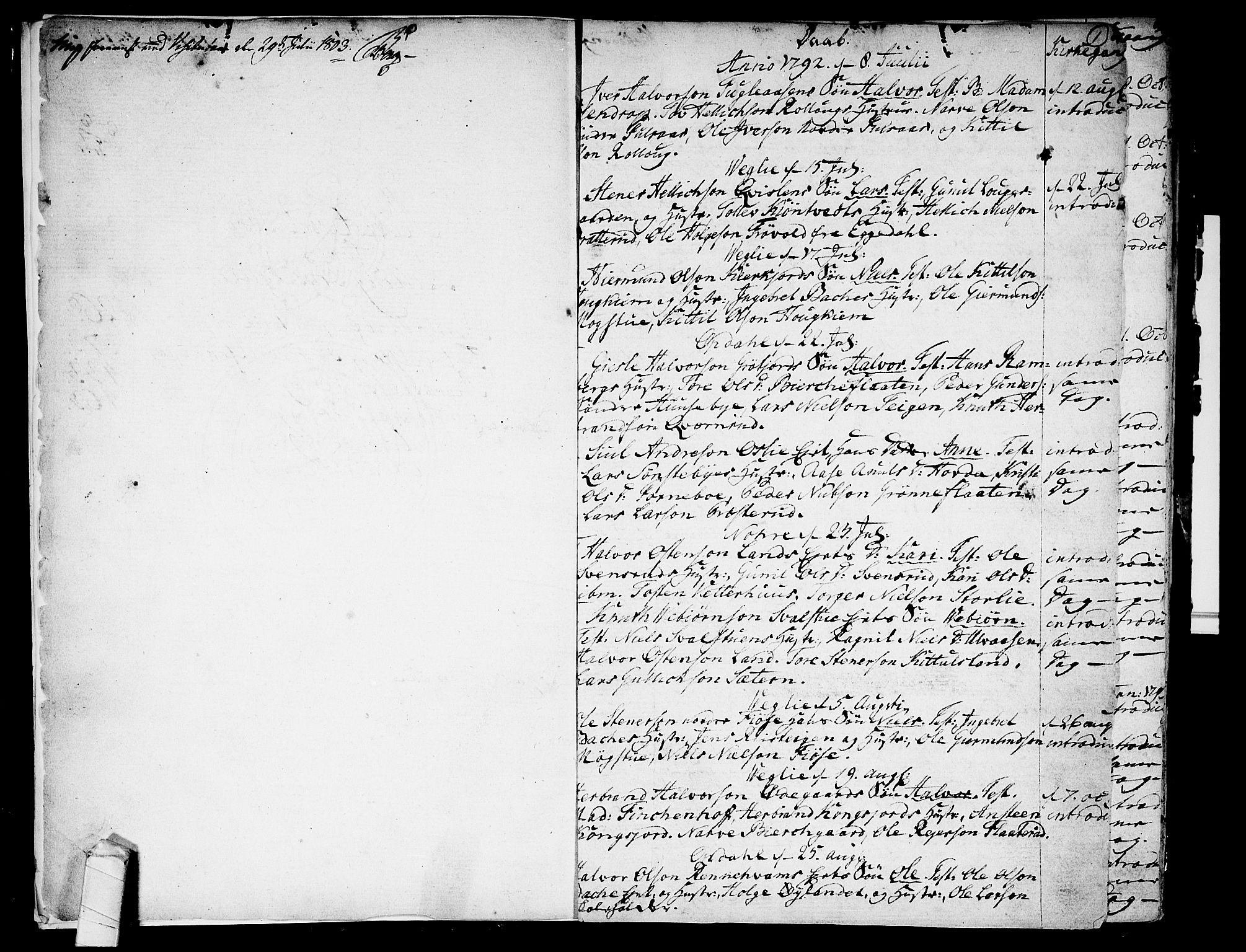 SAKO, Rollag kirkebøker, F/Fa/L0005: Ministerialbok nr. I 5, 1792-1814, s. 0-1