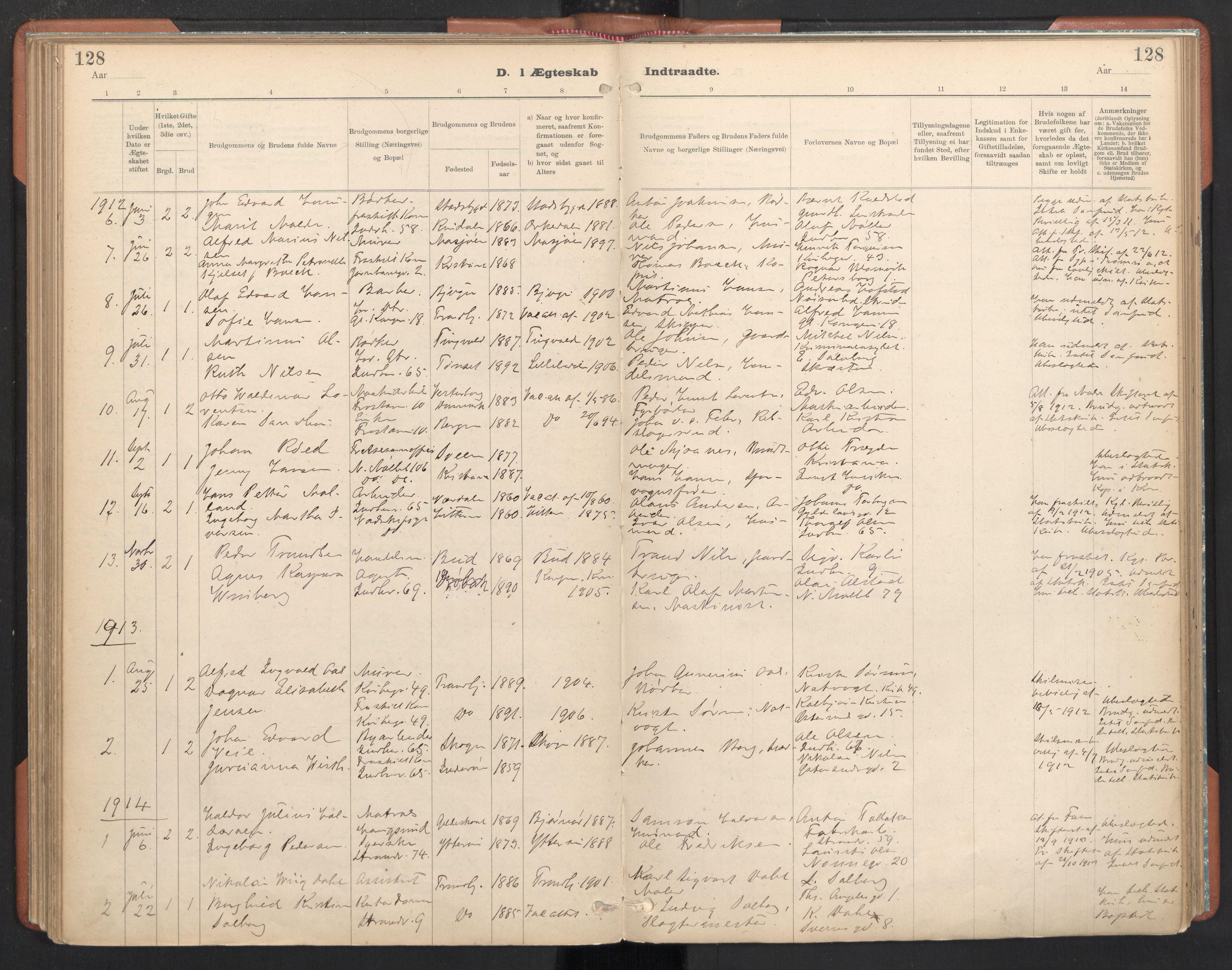 SAT, Ministerialprotokoller, klokkerbøker og fødselsregistre - Sør-Trøndelag, 605/L0244: Ministerialbok nr. 605A06, 1908-1954, s. 128
