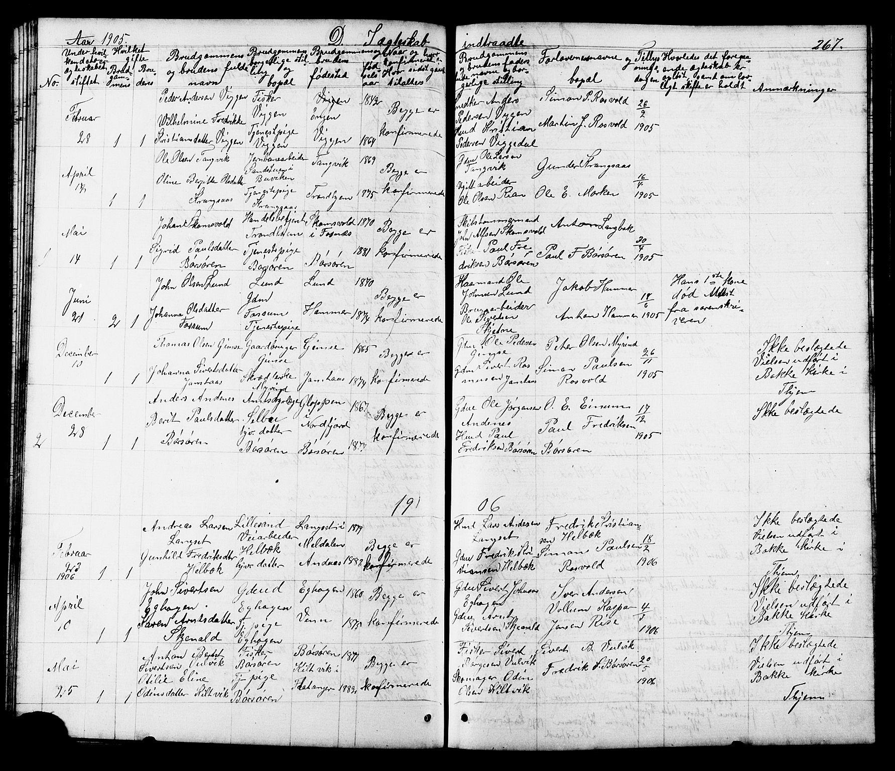 SAT, Ministerialprotokoller, klokkerbøker og fødselsregistre - Sør-Trøndelag, 665/L0777: Klokkerbok nr. 665C02, 1867-1915, s. 267