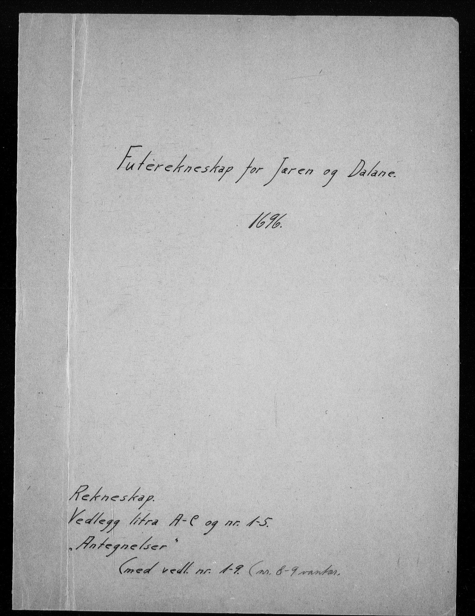 RA, Rentekammeret inntil 1814, Reviderte regnskaper, Fogderegnskap, R46/L2728: Fogderegnskap Jæren og Dalane, 1694-1696, s. 388
