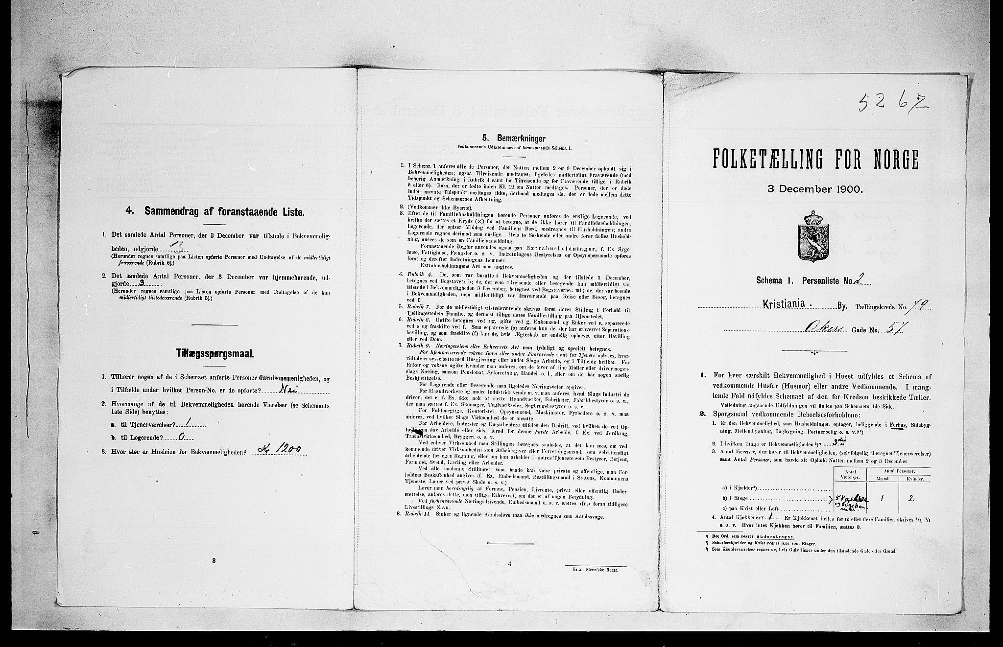 SAO, Folketelling 1900 for 0301 Kristiania kjøpstad, 1900, s. 1415