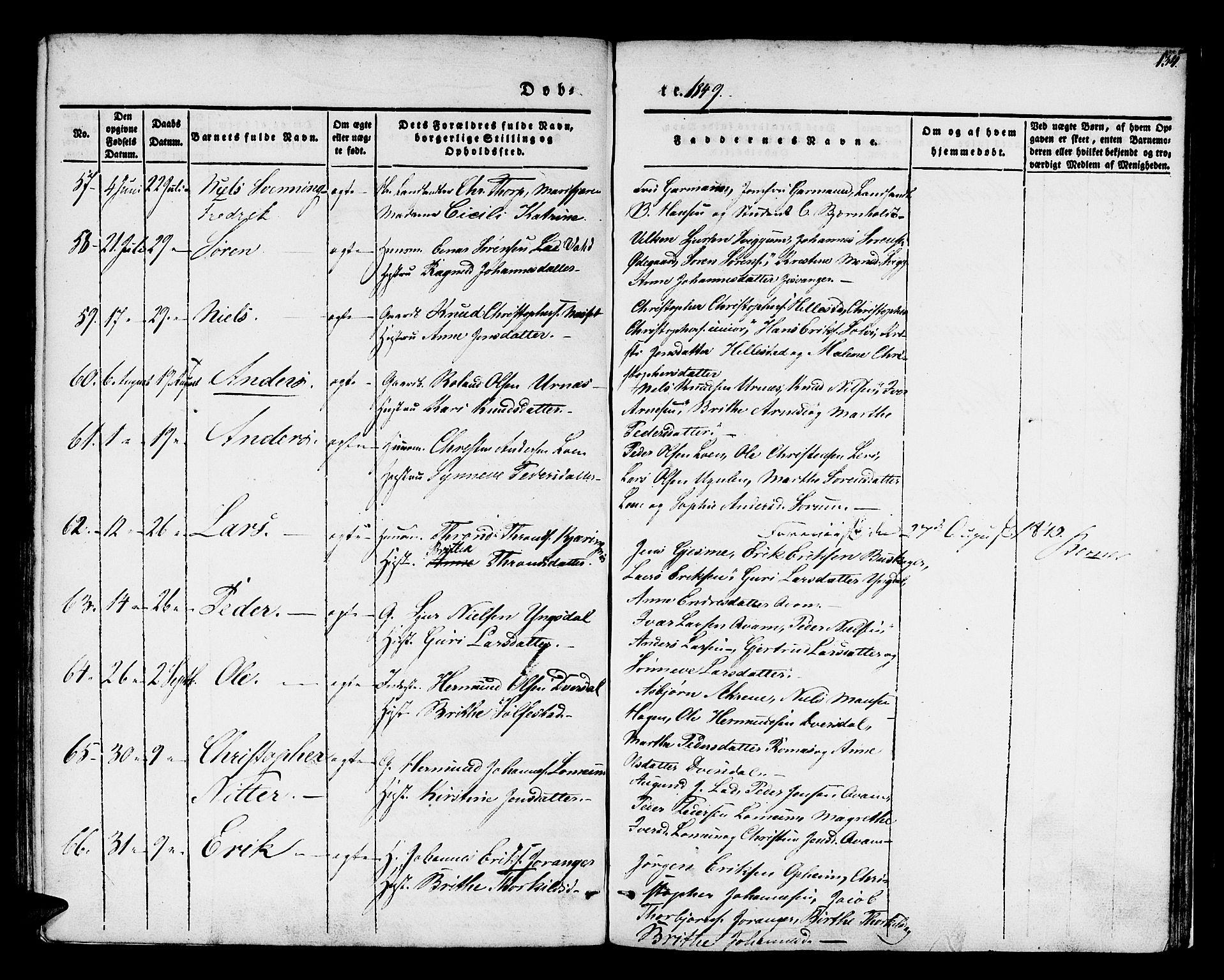 SAB, Hafslo Sokneprestembete, H/Haa/Haaa/L0005: Ministerialbok nr. A 5, 1834-1852, s. 134