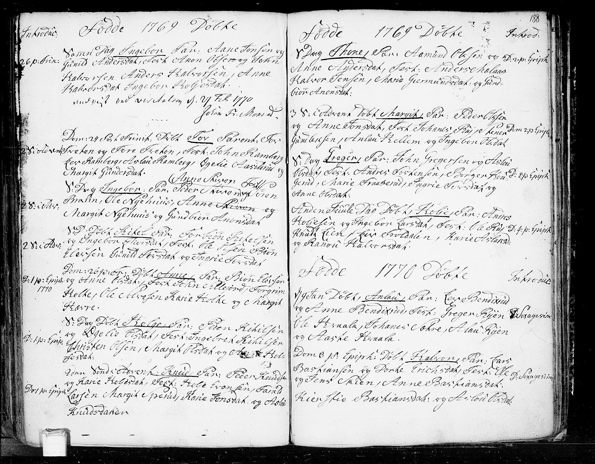 SAKO, Heddal kirkebøker, F/Fa/L0003: Ministerialbok nr. I 3, 1723-1783, s. 188