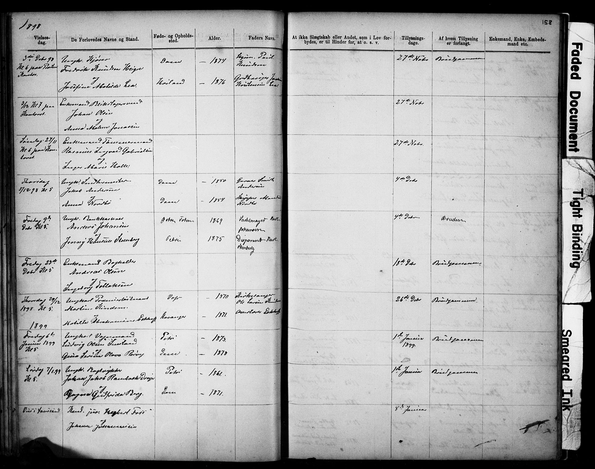 SAST, Domkirken sokneprestkontor, 30/30BB/L0014: Klokkerbok nr. B 14, 1875-1902, s. 158