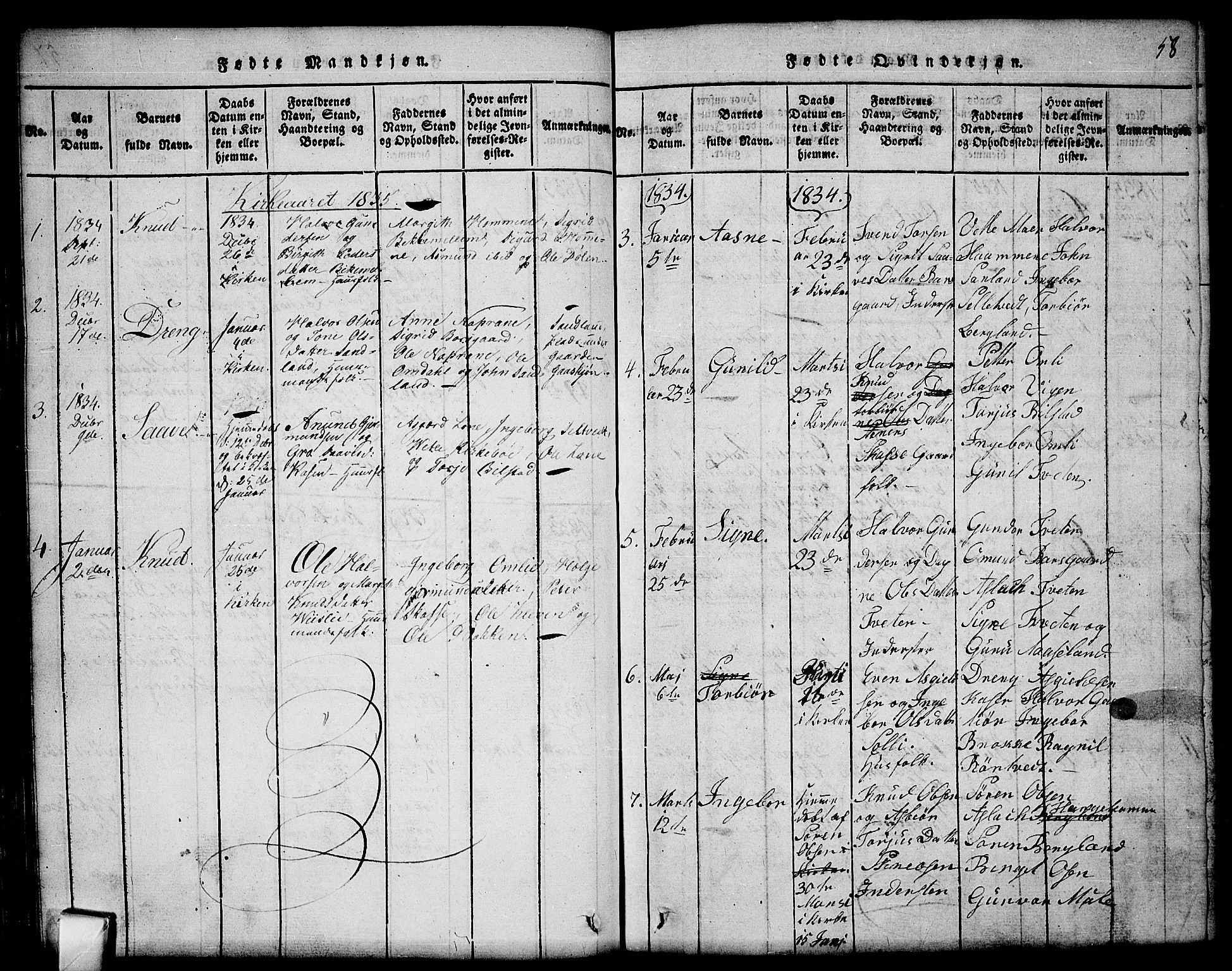 SAKO, Mo kirkebøker, G/Gb/L0001: Klokkerbok nr. II 1, 1814-1843, s. 58