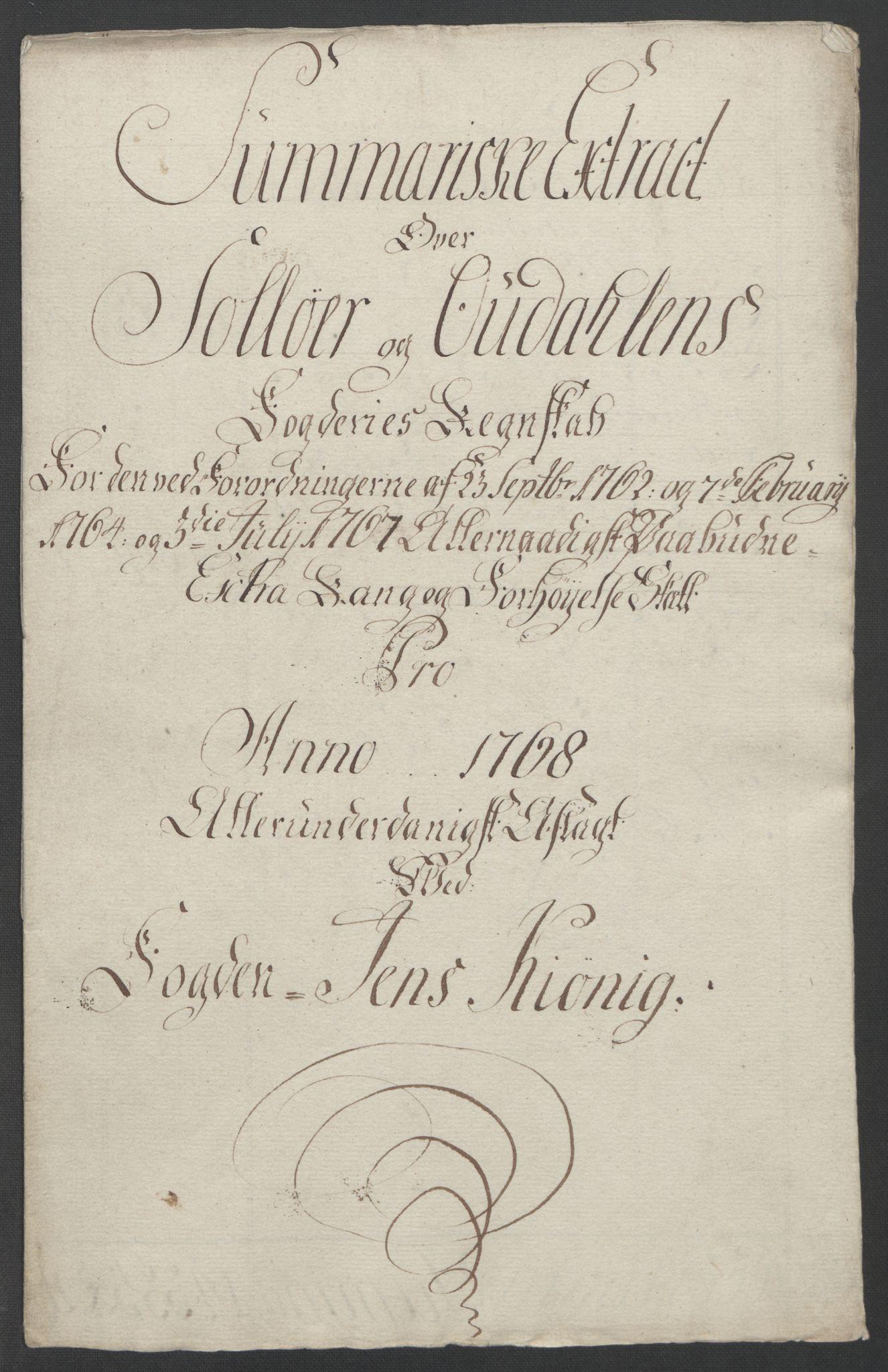 RA, Rentekammeret inntil 1814, Reviderte regnskaper, Fogderegnskap, R14/L0959: Ekstraskatten Solør og Odal, 1763-1770, s. 598