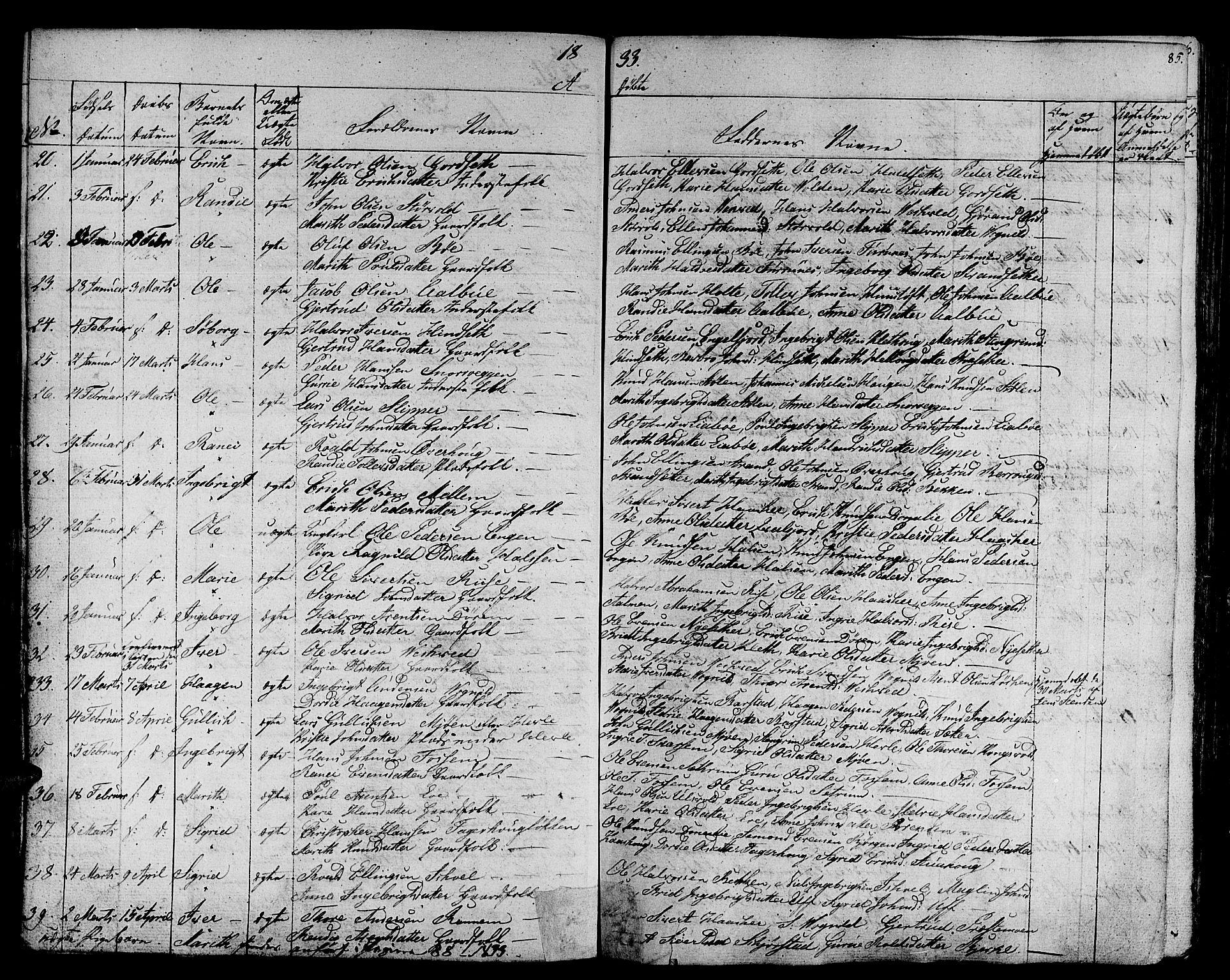 SAT, Ministerialprotokoller, klokkerbøker og fødselsregistre - Sør-Trøndelag, 678/L0897: Ministerialbok nr. 678A06-07, 1821-1847, s. 85