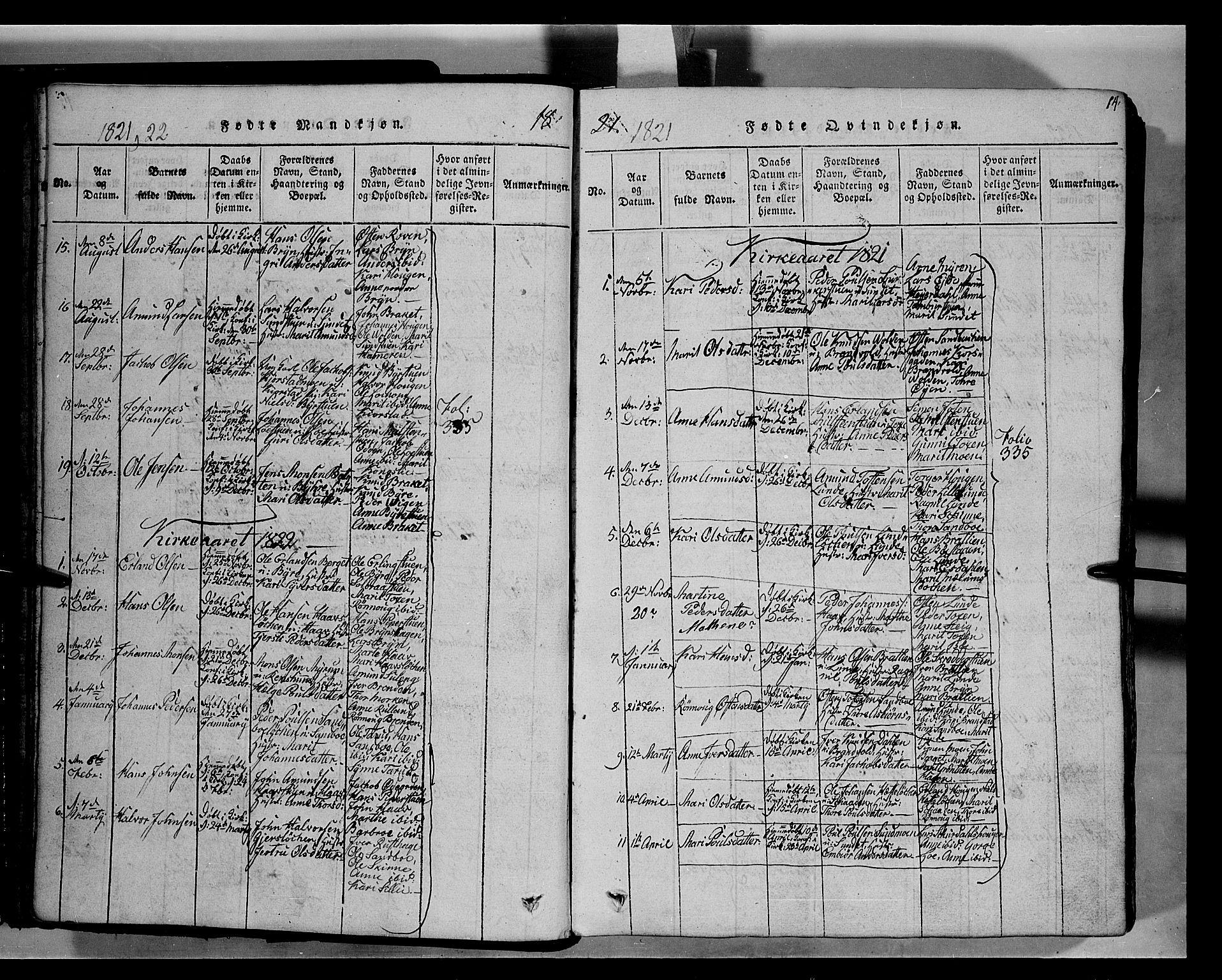 SAH, Fron prestekontor, H/Ha/Hab/L0004: Klokkerbok nr. 4, 1816-1850, s. 14
