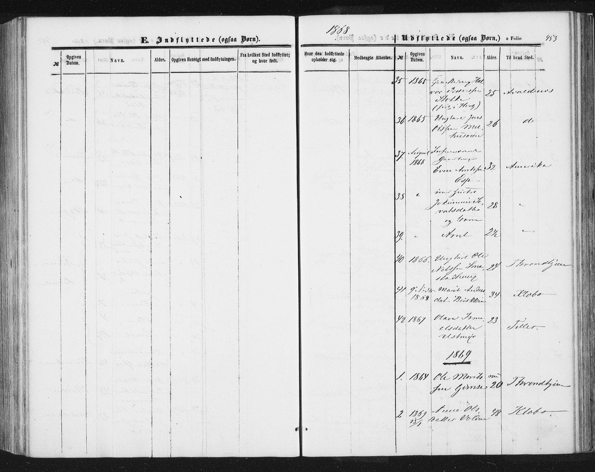 SAT, Ministerialprotokoller, klokkerbøker og fødselsregistre - Sør-Trøndelag, 691/L1077: Ministerialbok nr. 691A09, 1862-1873, s. 453