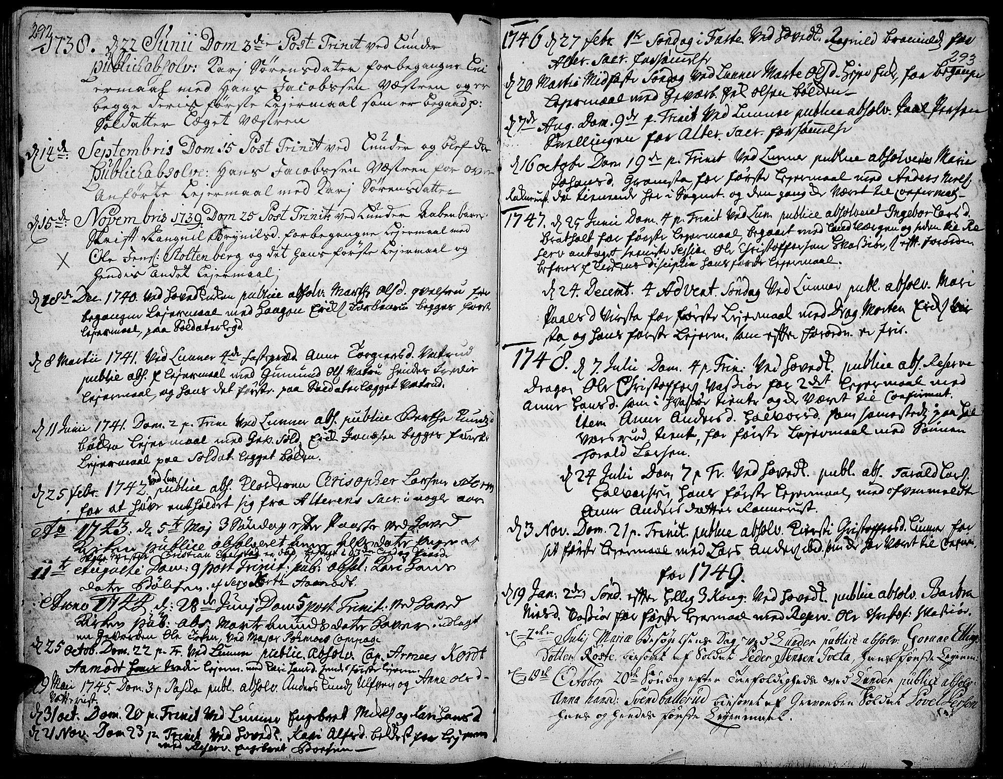 SAH, Jevnaker prestekontor, Ministerialbok nr. 2, 1725-1751, s. 292-293