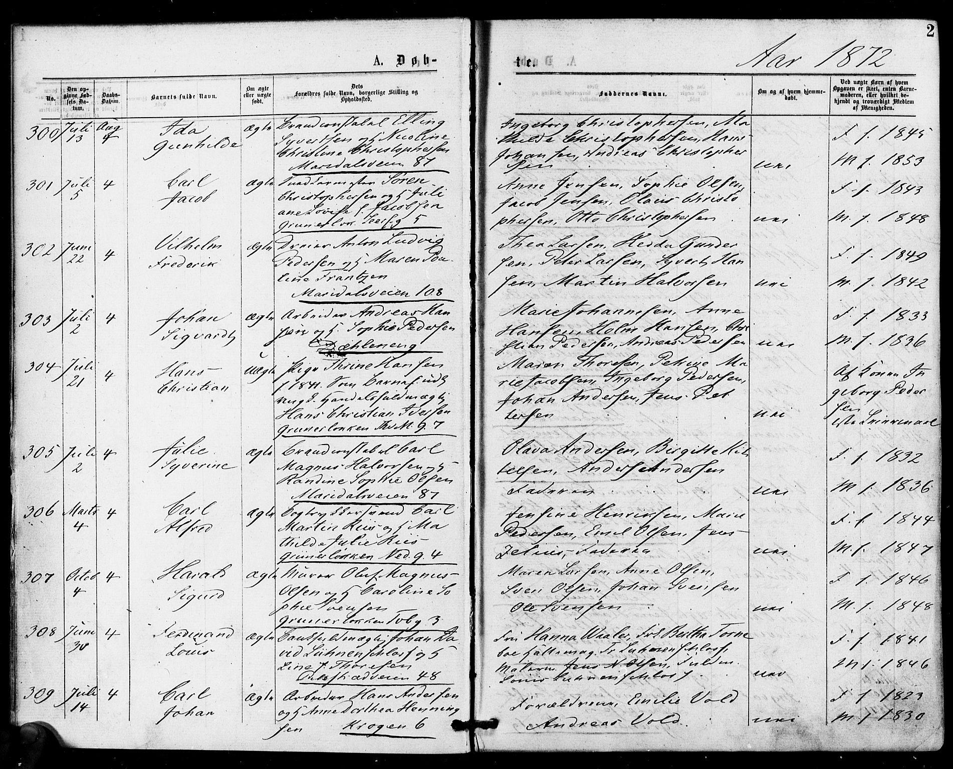 SAO, Gamle Aker prestekontor Kirkebøker, F/L0004: Ministerialbok nr. 4, 1872-1879, s. 2