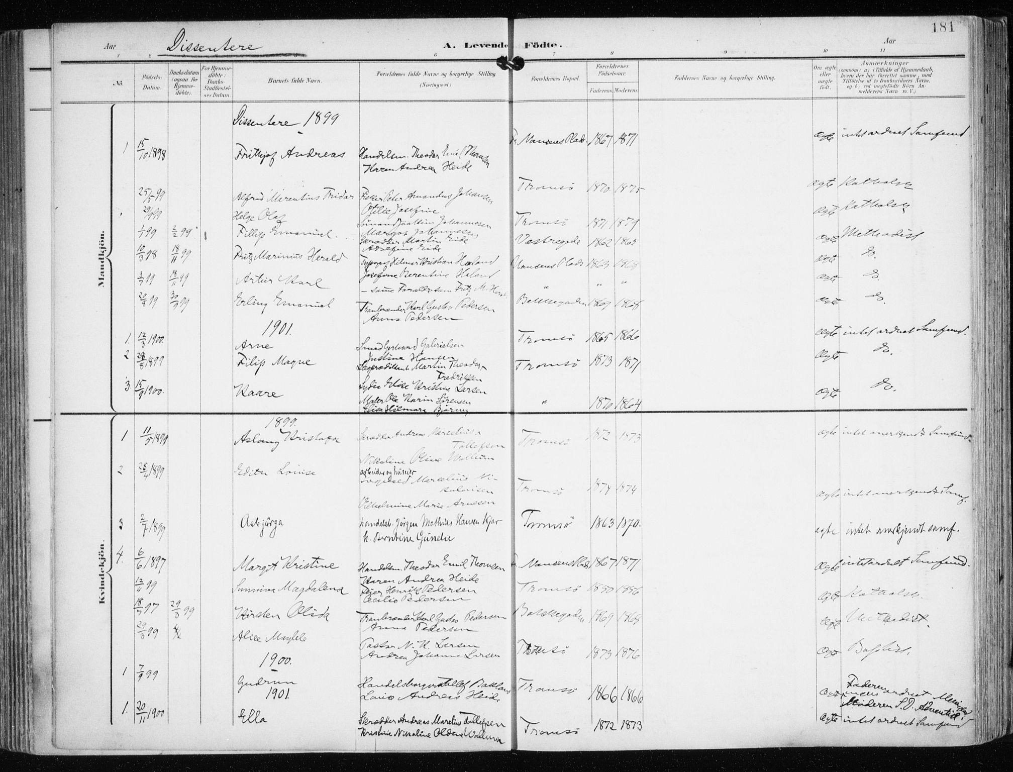 SATØ, Tromsø sokneprestkontor/stiftsprosti/domprosti, G/Ga/L0016kirke: Ministerialbok nr. 16, 1899-1906, s. 181