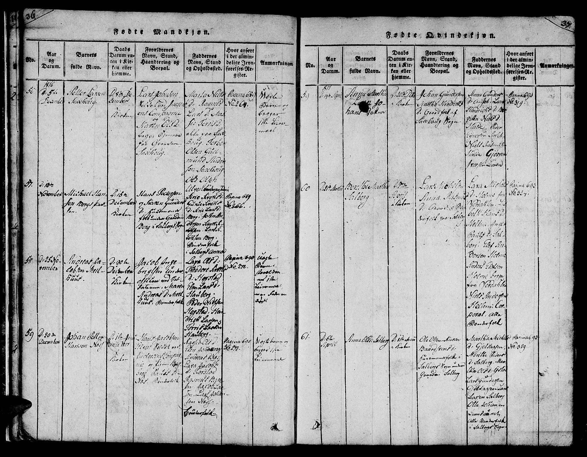 SAT, Ministerialprotokoller, klokkerbøker og fødselsregistre - Nord-Trøndelag, 730/L0275: Ministerialbok nr. 730A04, 1816-1822, s. 36-37