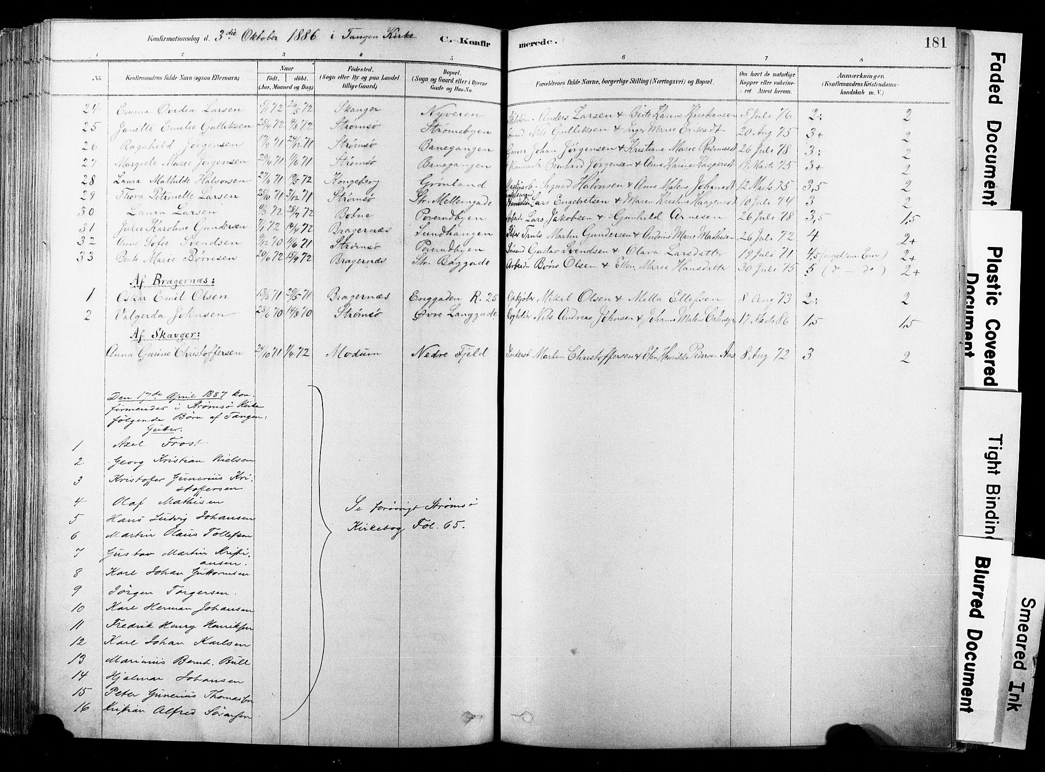 SAKO, Strømsø kirkebøker, F/Fb/L0006: Ministerialbok nr. II 6, 1879-1910, s. 181
