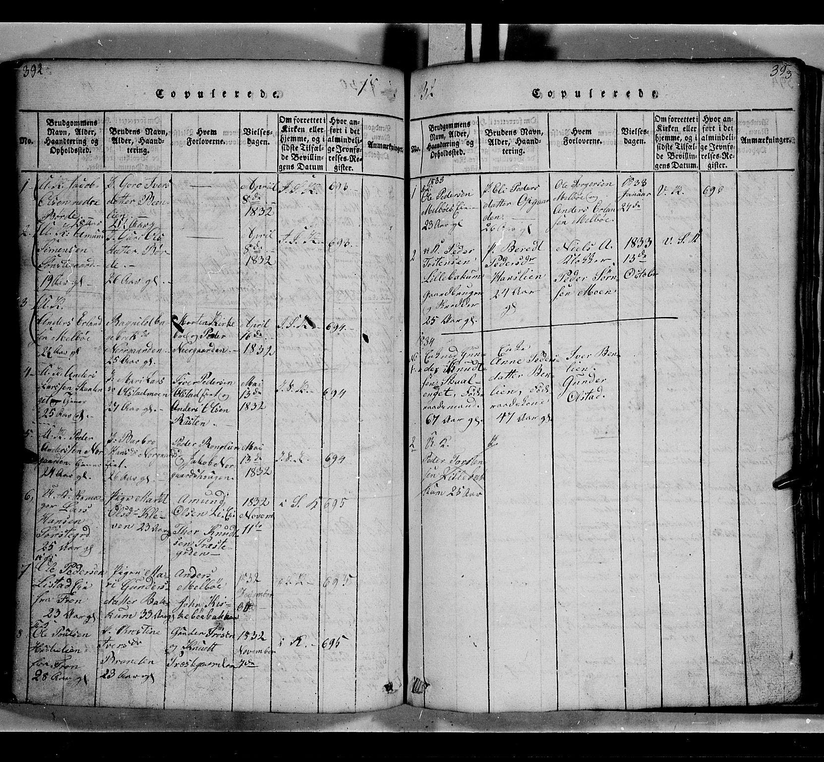SAH, Gausdal prestekontor, Klokkerbok nr. 2, 1818-1874, s. 392-393