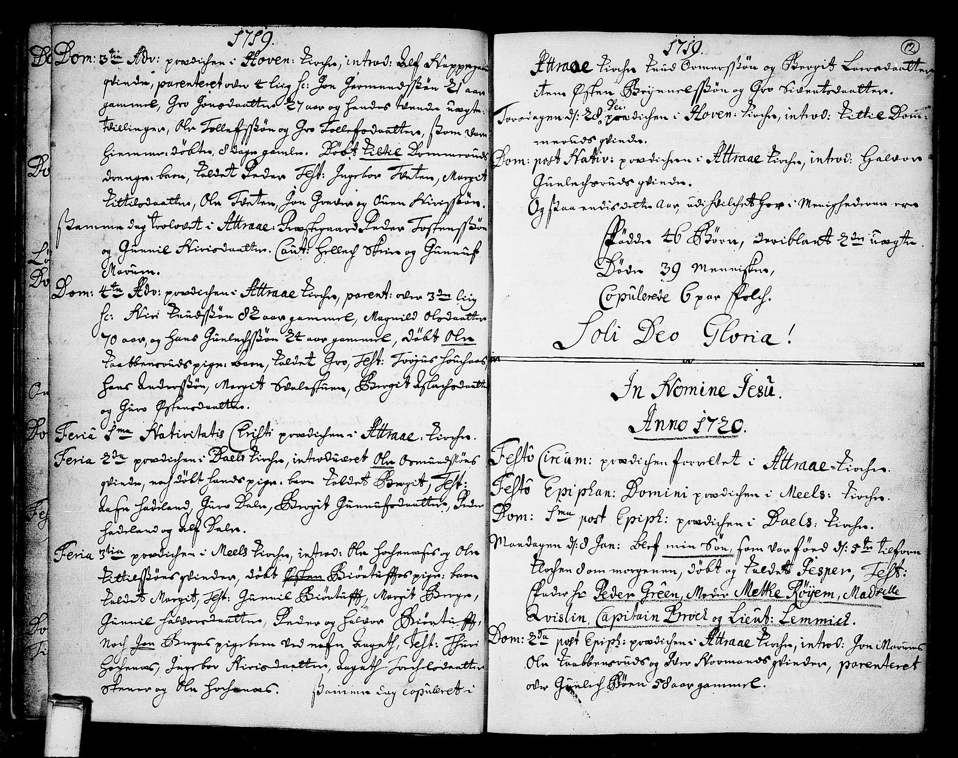 SAKO, Tinn kirkebøker, F/Fa/L0001: Ministerialbok nr. I 1, 1717-1734, s. 12