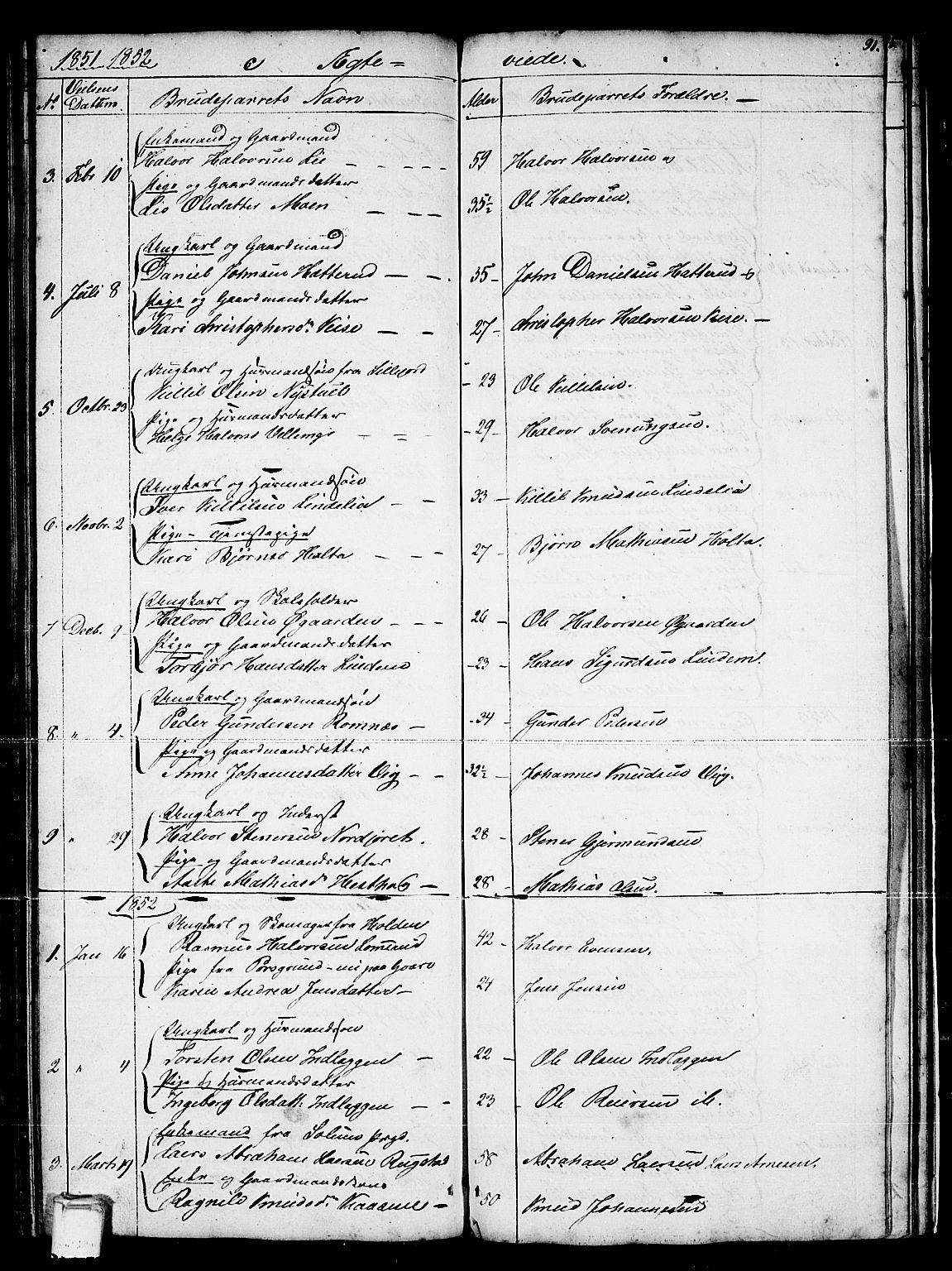 SAKO, Sauherad kirkebøker, G/Gb/L0001: Klokkerbok nr. II 1, 1845-1865, s. 91