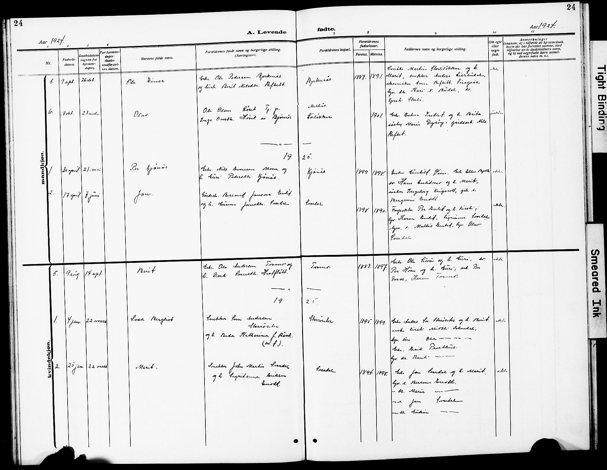 SAT, Ministerialprotokoller, klokkerbøker og fødselsregistre - Sør-Trøndelag, 690/L1052: Klokkerbok nr. 690C02, 1907-1929, s. 24