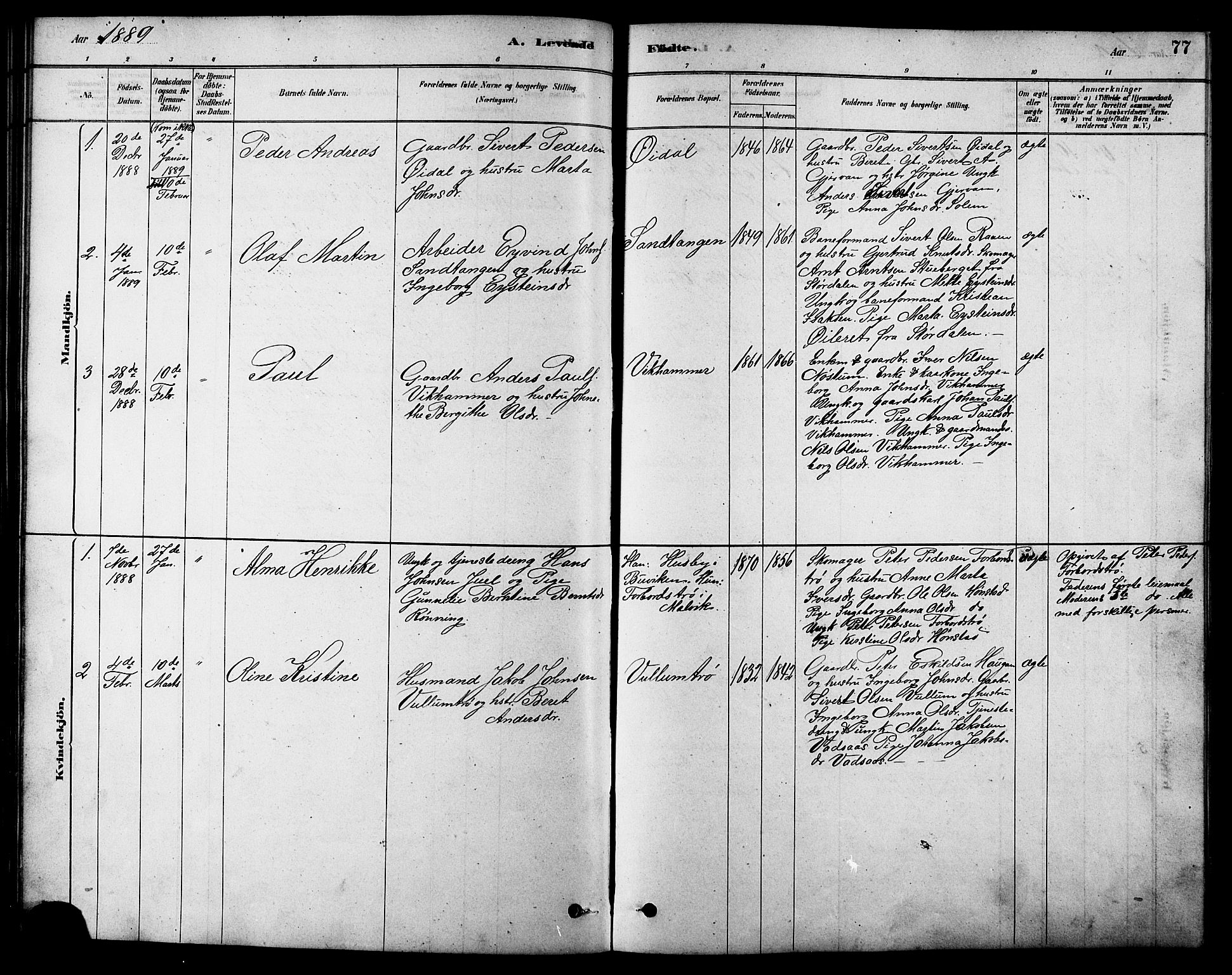 SAT, Ministerialprotokoller, klokkerbøker og fødselsregistre - Sør-Trøndelag, 616/L0423: Klokkerbok nr. 616C06, 1878-1903, s. 77