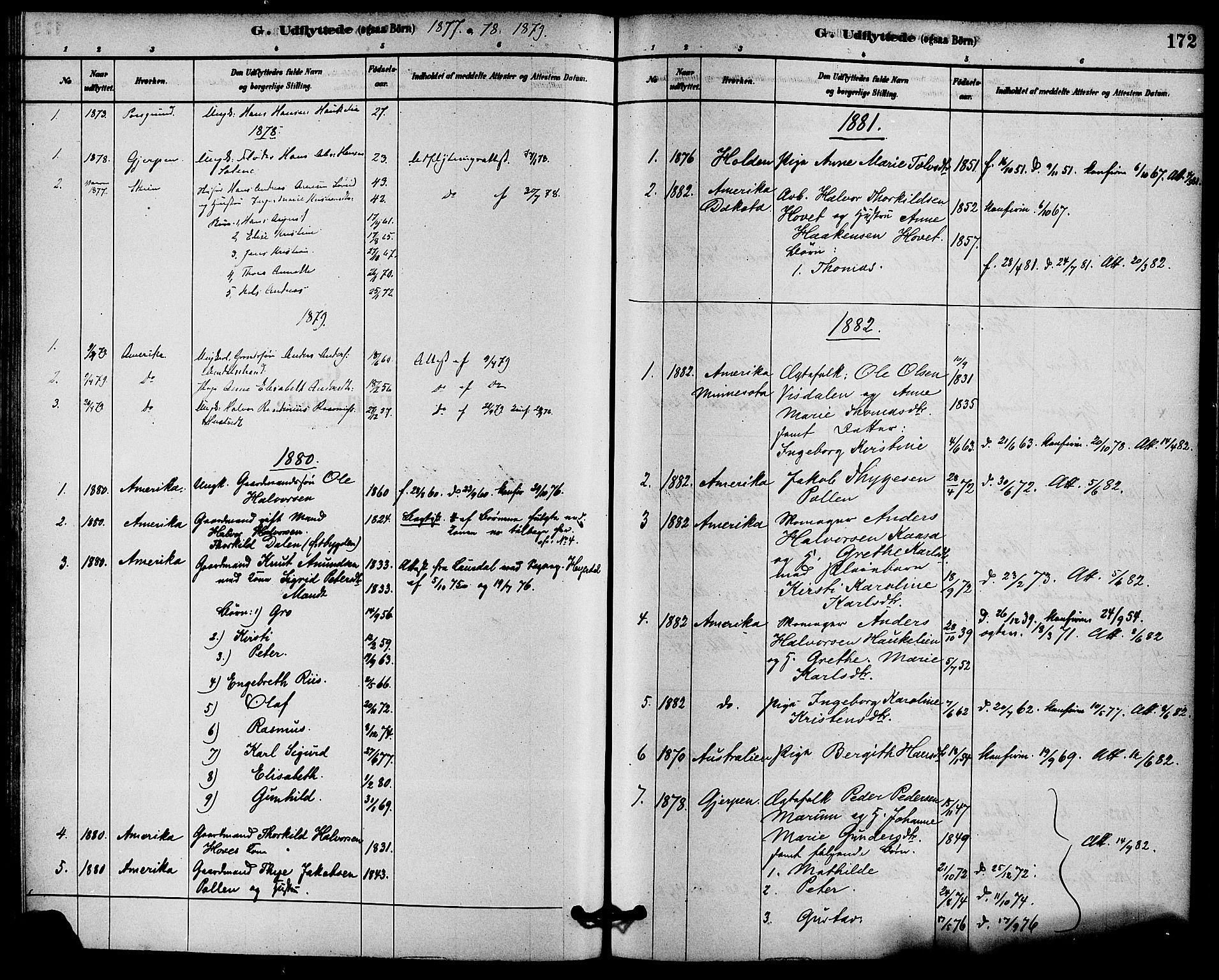 SAKO, Solum kirkebøker, F/Fb/L0001: Ministerialbok nr. II 1, 1877-1892, s. 172