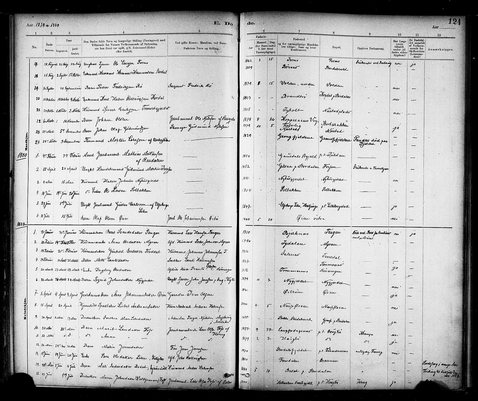 SAT, Ministerialprotokoller, klokkerbøker og fødselsregistre - Nord-Trøndelag, 706/L0047: Ministerialbok nr. 706A03, 1878-1892, s. 124