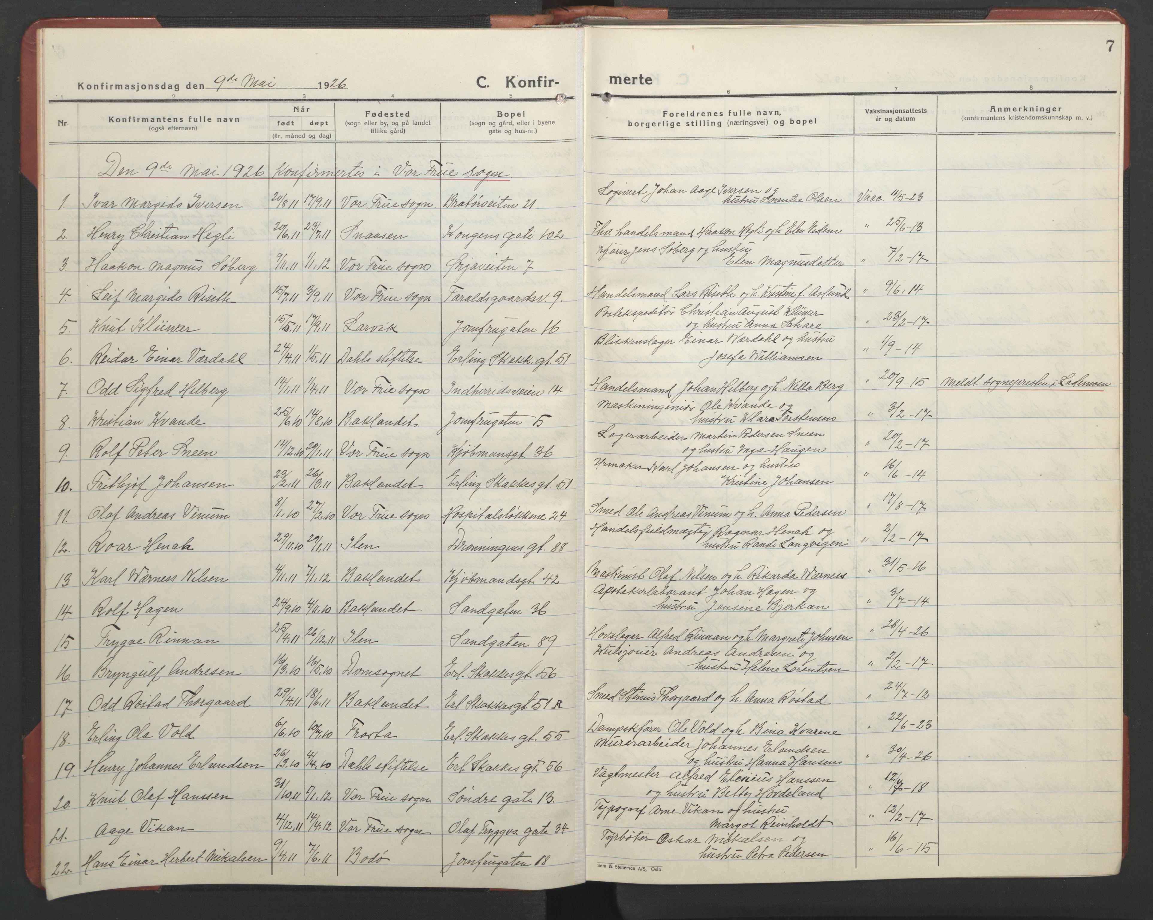 SAT, Ministerialprotokoller, klokkerbøker og fødselsregistre - Sør-Trøndelag, 602/L0151: Klokkerbok nr. 602C19, 1925-1951, s. 7