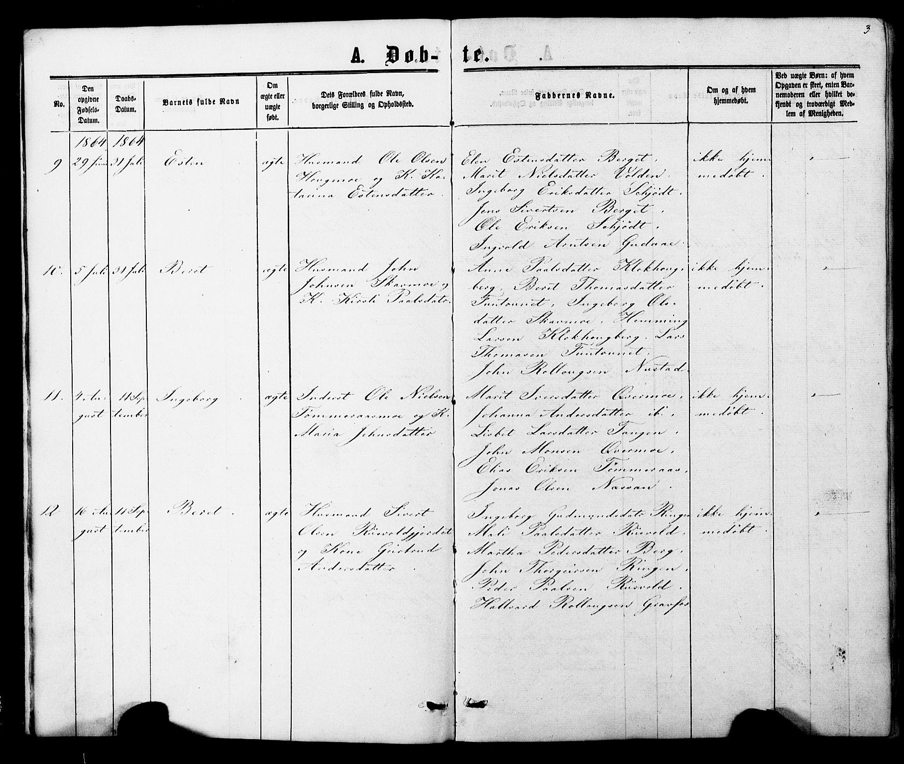 SAT, Ministerialprotokoller, klokkerbøker og fødselsregistre - Nord-Trøndelag, 706/L0049: Klokkerbok nr. 706C01, 1864-1895, s. 3