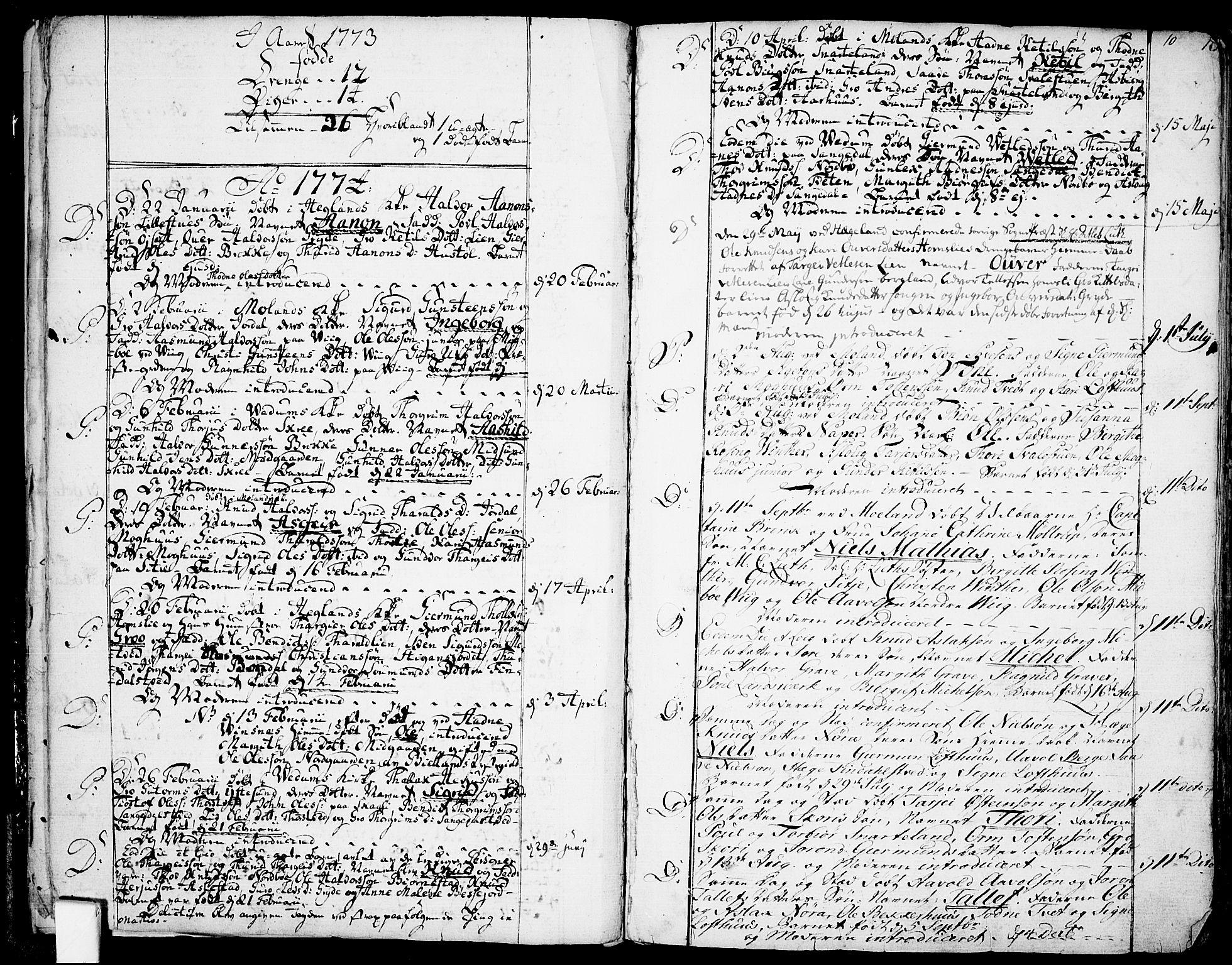 SAKO, Fyresdal kirkebøker, F/Fa/L0002: Ministerialbok nr. I 2, 1769-1814, s. 10