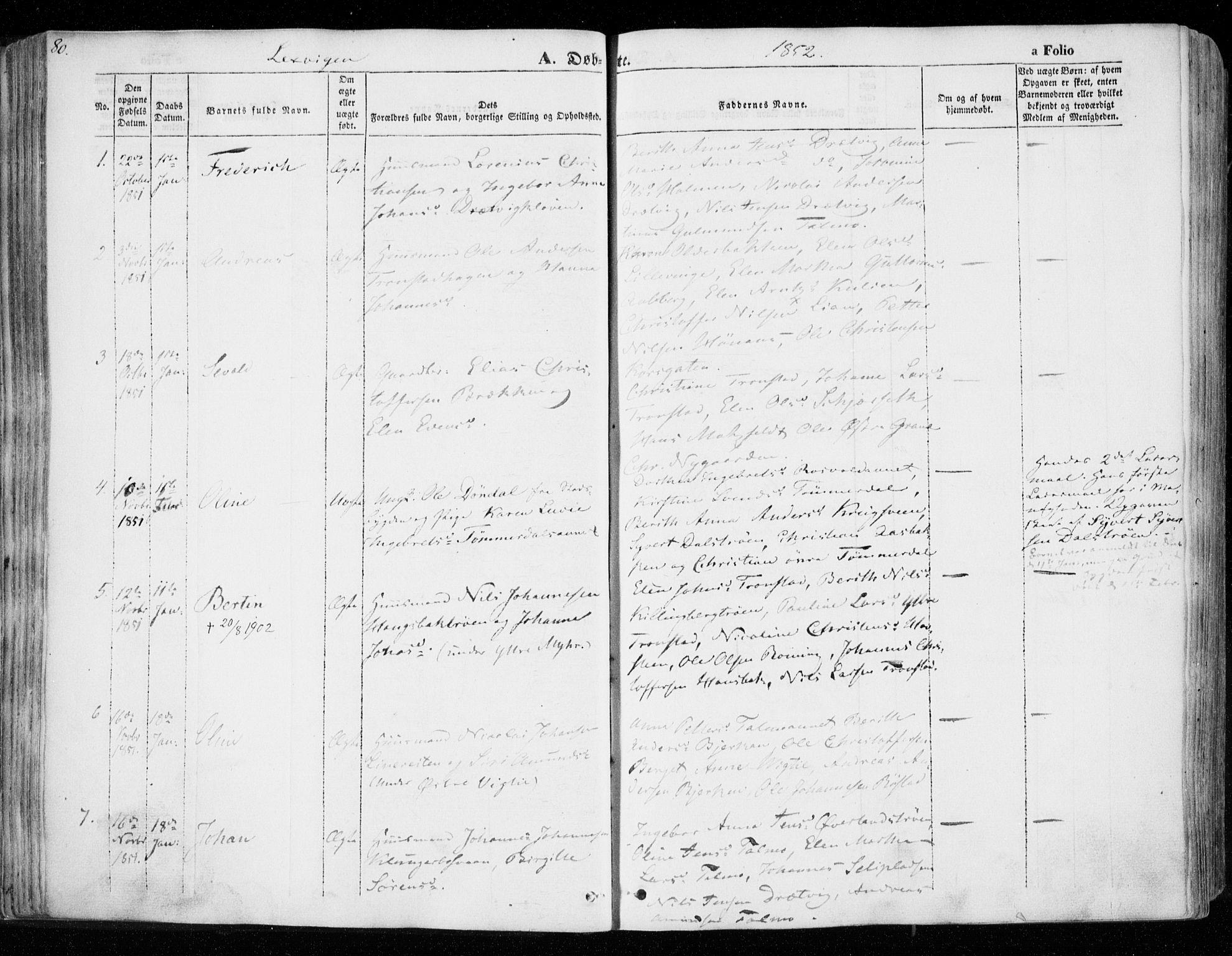 SAT, Ministerialprotokoller, klokkerbøker og fødselsregistre - Nord-Trøndelag, 701/L0007: Ministerialbok nr. 701A07 /1, 1842-1854, s. 80
