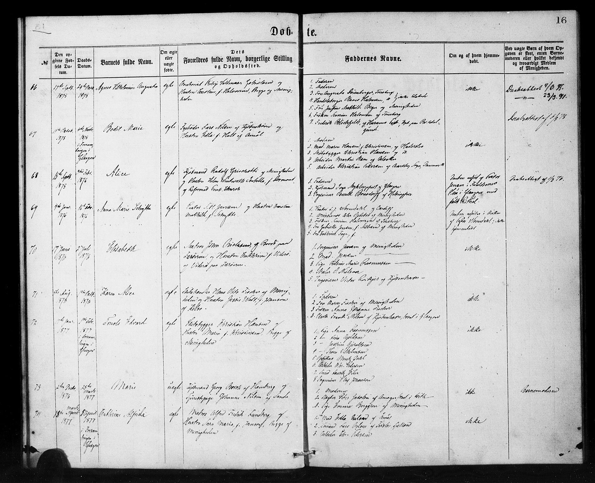 SAB, Den Norske Sjømannsmisjon i utlandet*, Ministerialbok nr. A 1, 1865-1880, s. 16