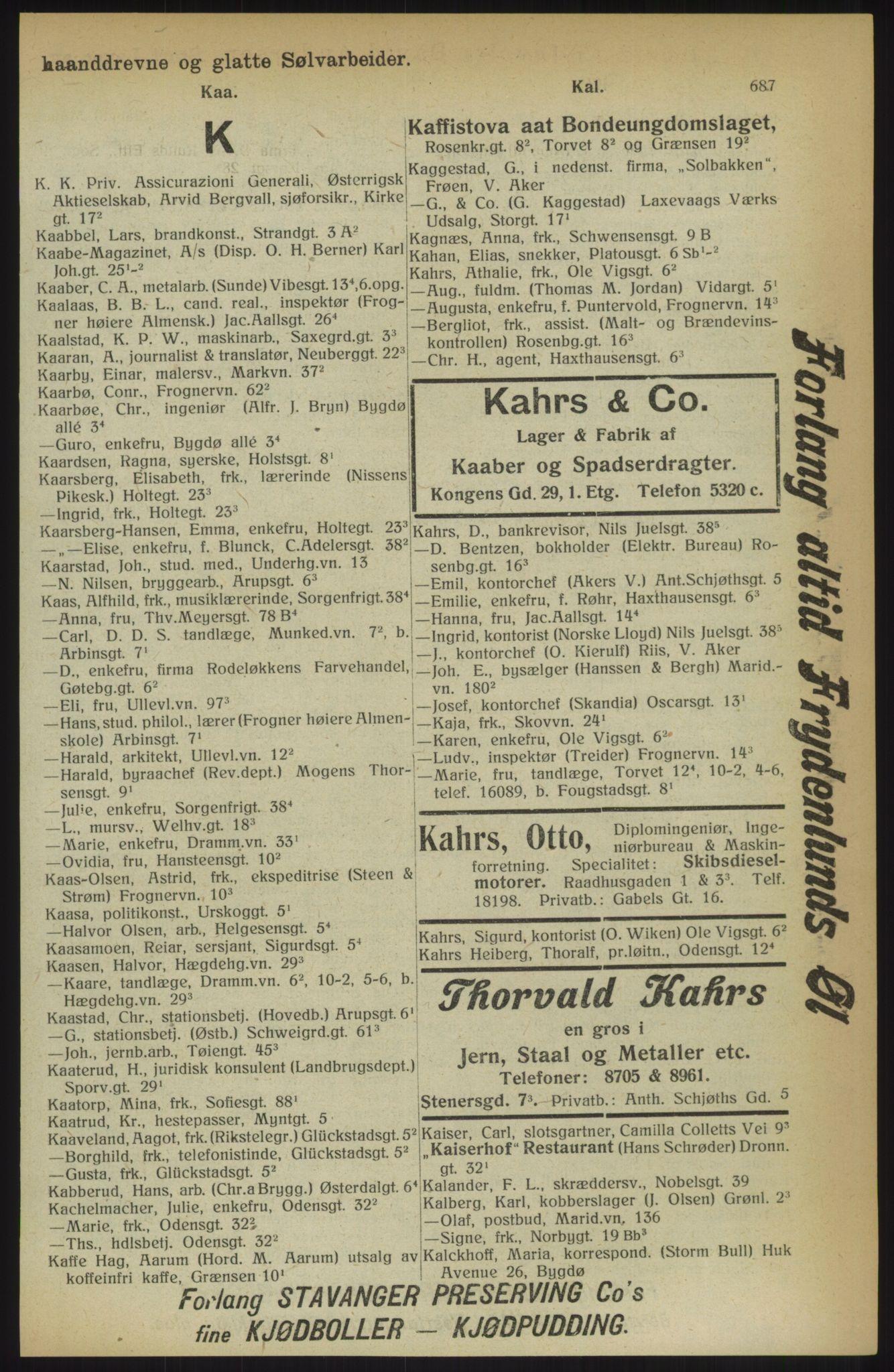RA, Kristiania adressebok (publikasjon)*, 1914, s. 687