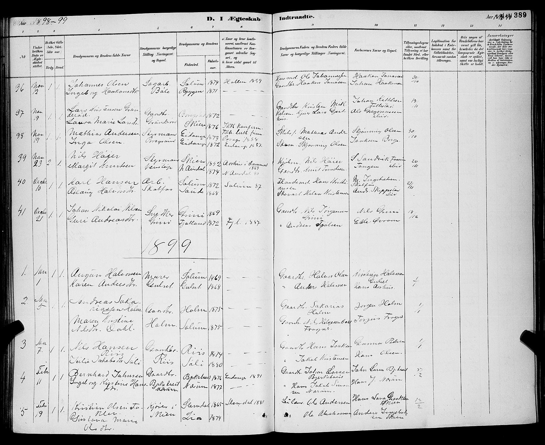SAKO, Gjerpen kirkebøker, G/Ga/L0002: Klokkerbok nr. I 2, 1883-1900, s. 389