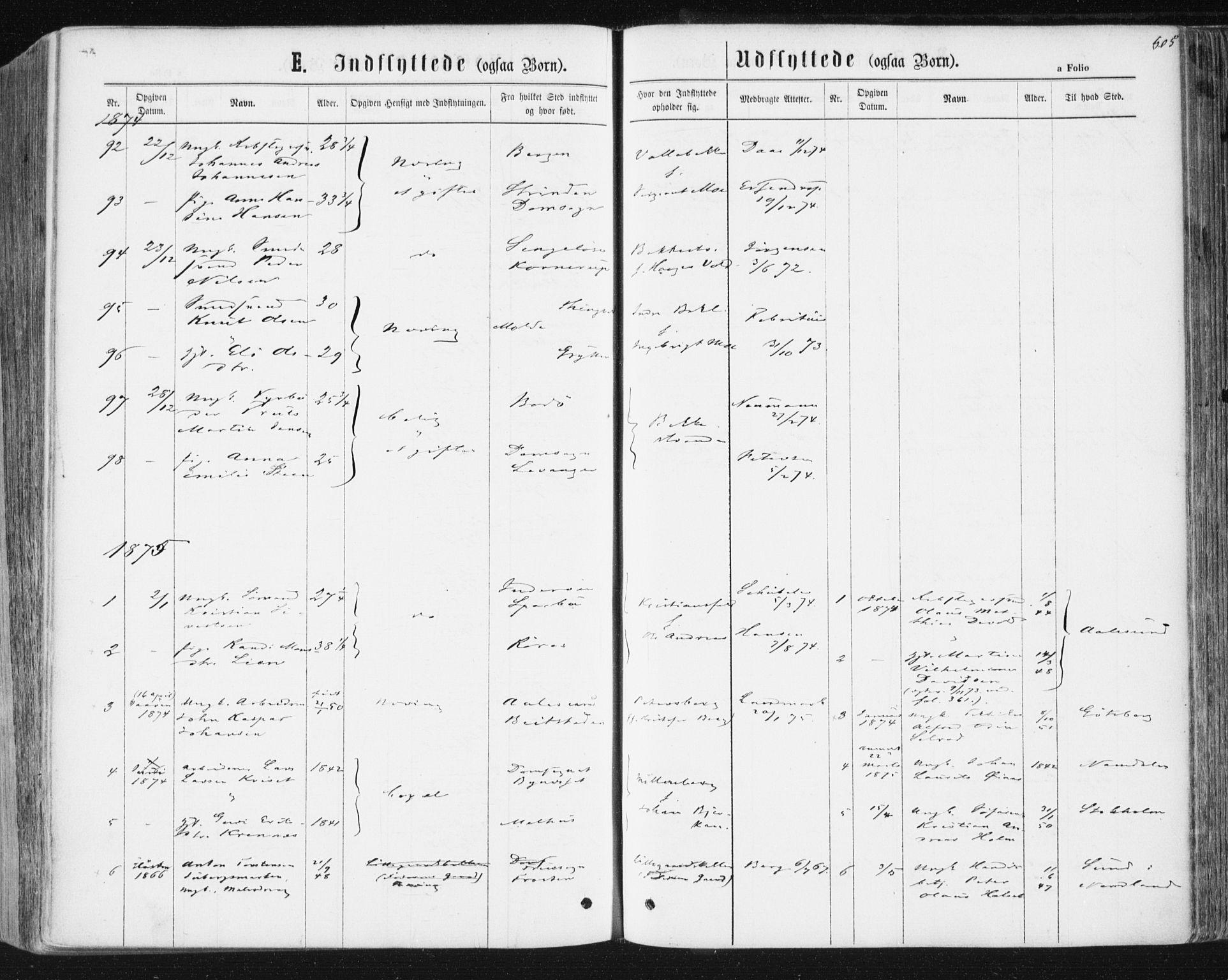 SAT, Ministerialprotokoller, klokkerbøker og fødselsregistre - Sør-Trøndelag, 604/L0186: Ministerialbok nr. 604A07, 1866-1877, s. 605