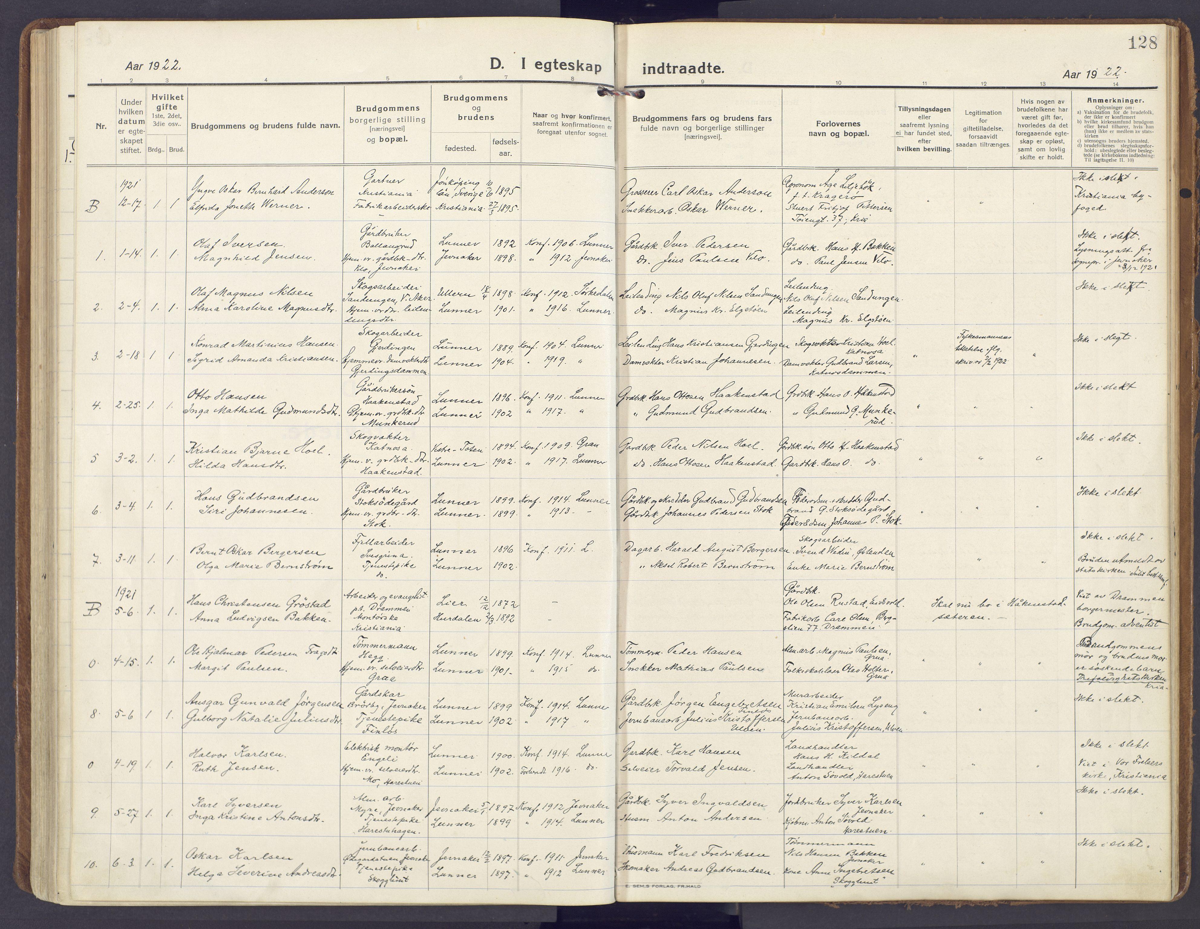 SAH, Lunner prestekontor, H/Ha/Haa/L0002: Ministerialbok nr. 2, 1922-1931, s. 128