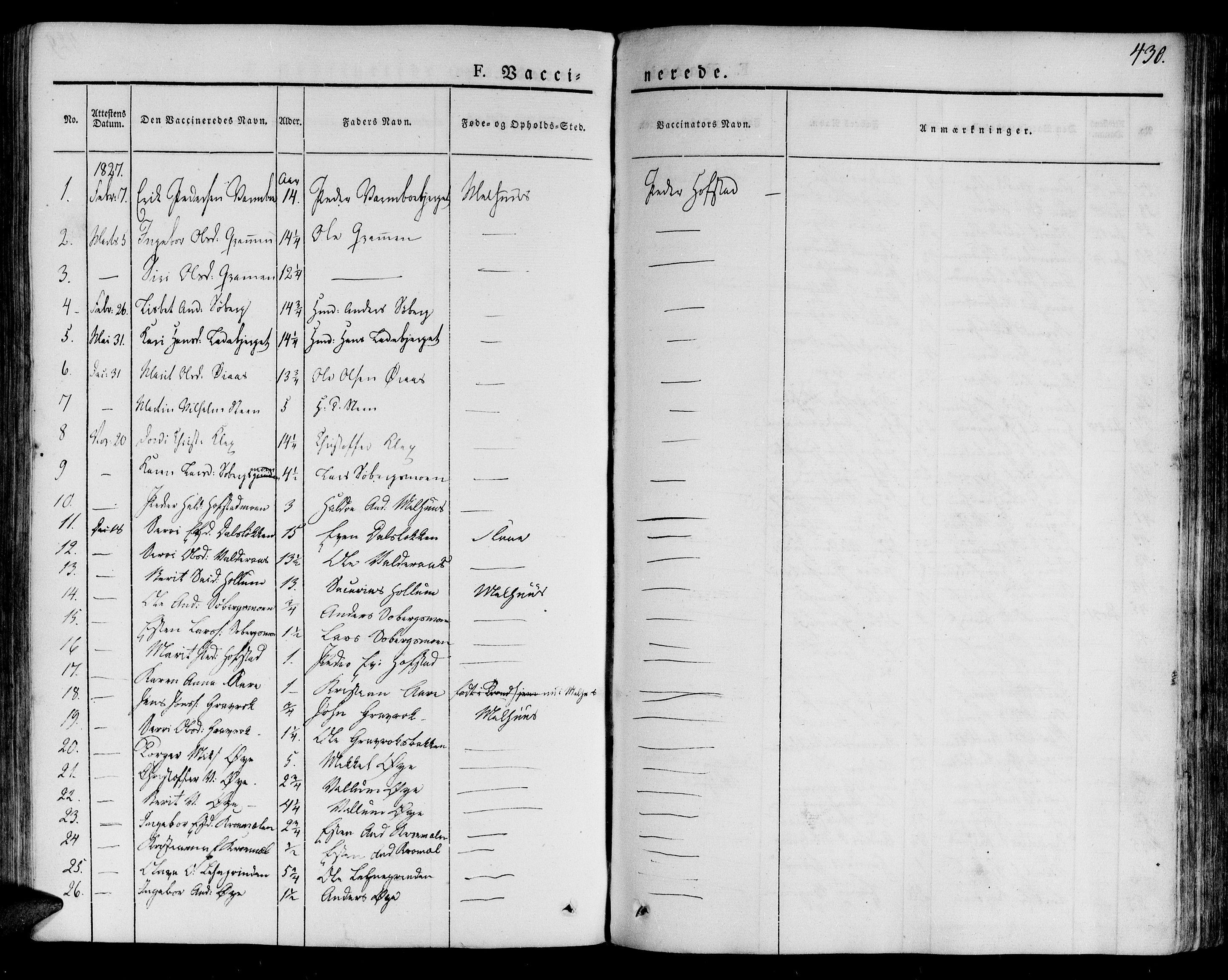 SAT, Ministerialprotokoller, klokkerbøker og fødselsregistre - Sør-Trøndelag, 691/L1070: Ministerialbok nr. 691A05 /1, 1826-1841, s. 430