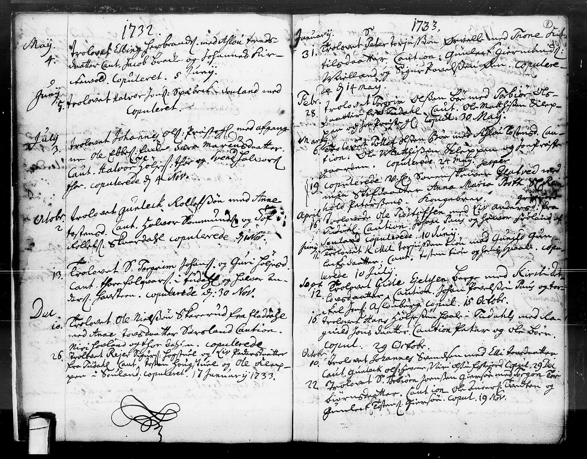 SAKO, Hjartdal kirkebøker, F/Fa/L0004: Ministerialbok nr. I 4, 1727-1795, s. 8