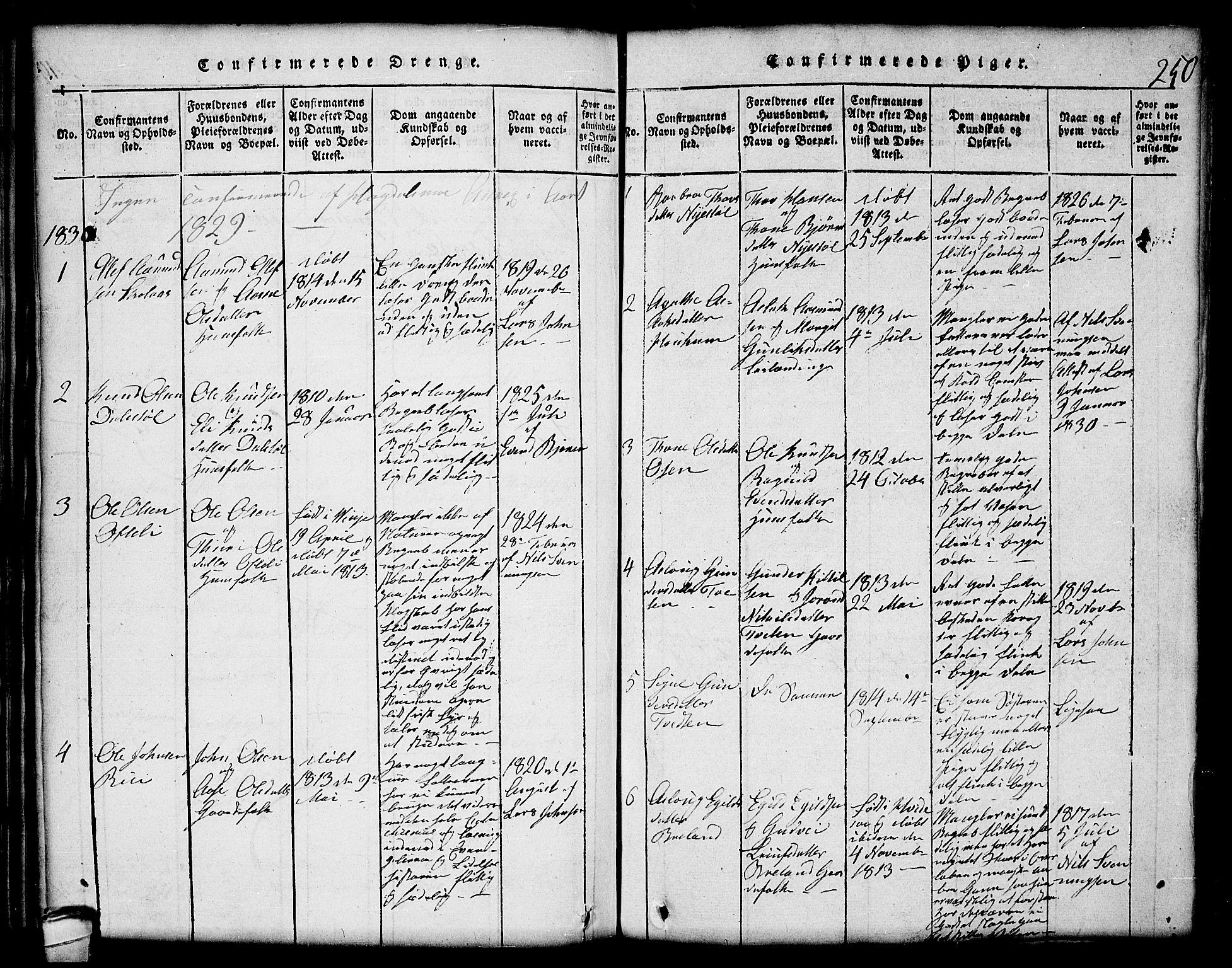 SAKO, Lårdal kirkebøker, G/Gc/L0001: Klokkerbok nr. III 1, 1815-1854, s. 250