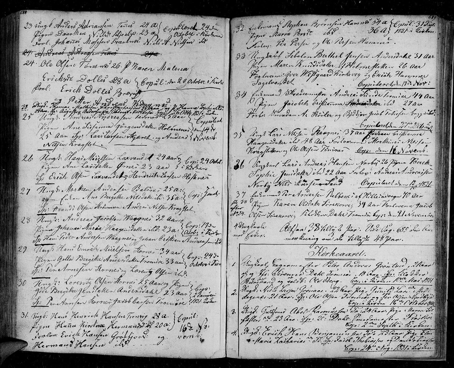 SATØ, Tromsø sokneprestkontor/stiftsprosti/domprosti, G/Ga/L0008kirke: Ministerialbok nr. 8, 1829-1837, s. 688-689