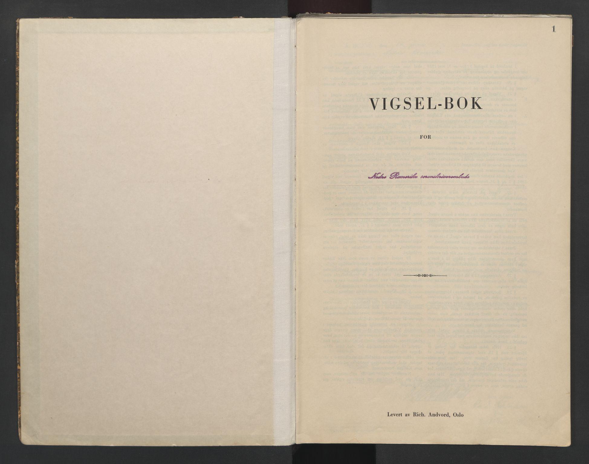 SAO, Nedre Romerike sorenskriveri, L/Lb/L0004: Vigselsbok - borgerlige vielser, 1943-1944, s. 1