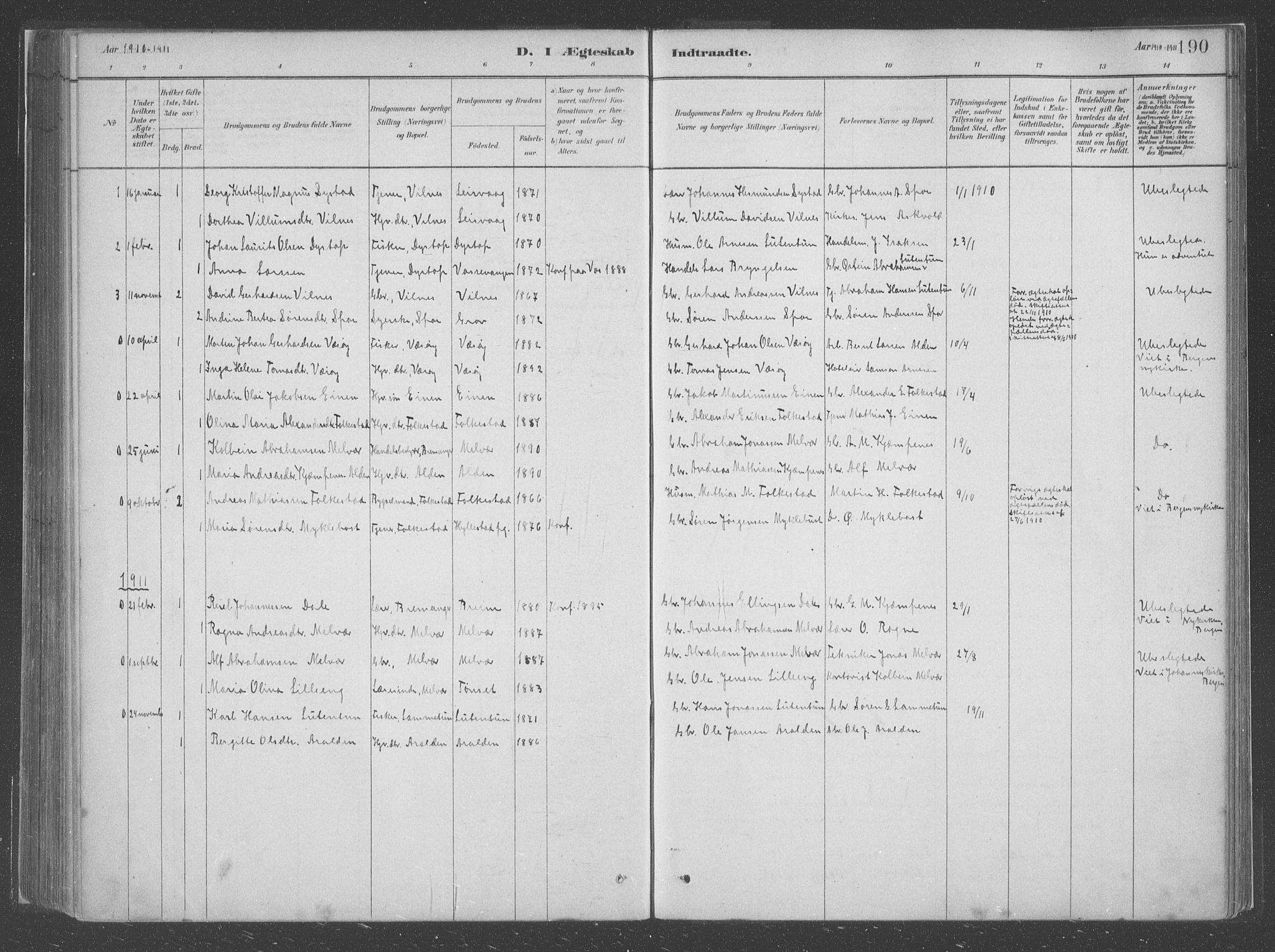 SAB, Askvoll Sokneprestembete, H/Haa/Haac/L0001: Ministerialbok nr. C  1, 1879-1922, s. 190