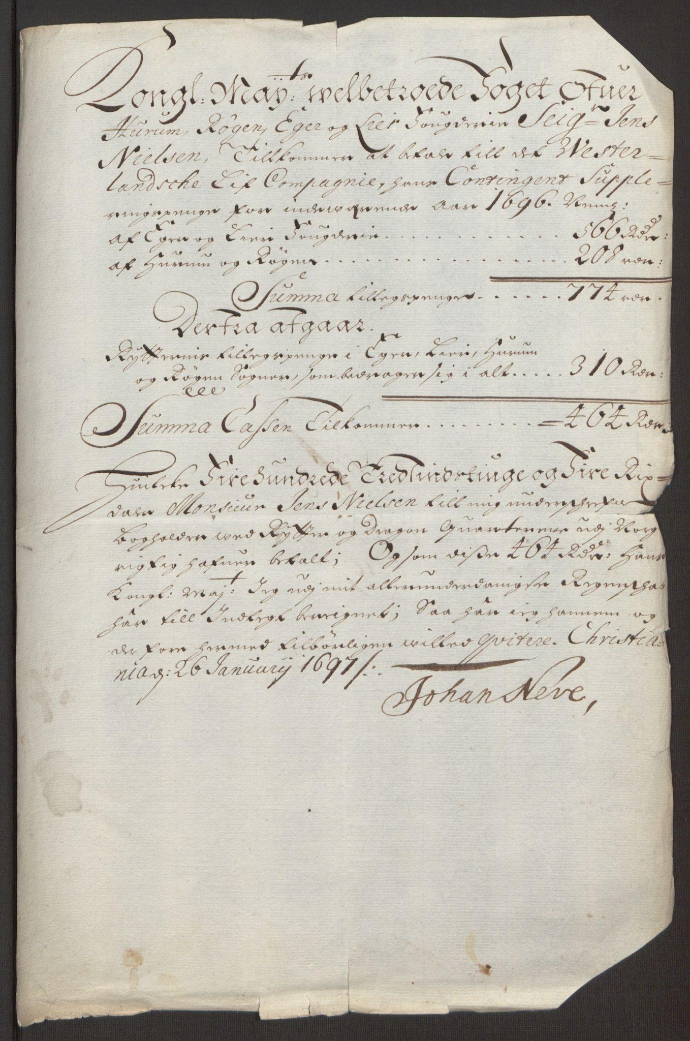 RA, Rentekammeret inntil 1814, Reviderte regnskaper, Fogderegnskap, R30/L1694: Fogderegnskap Hurum, Røyken, Eiker og Lier, 1694-1696, s. 436