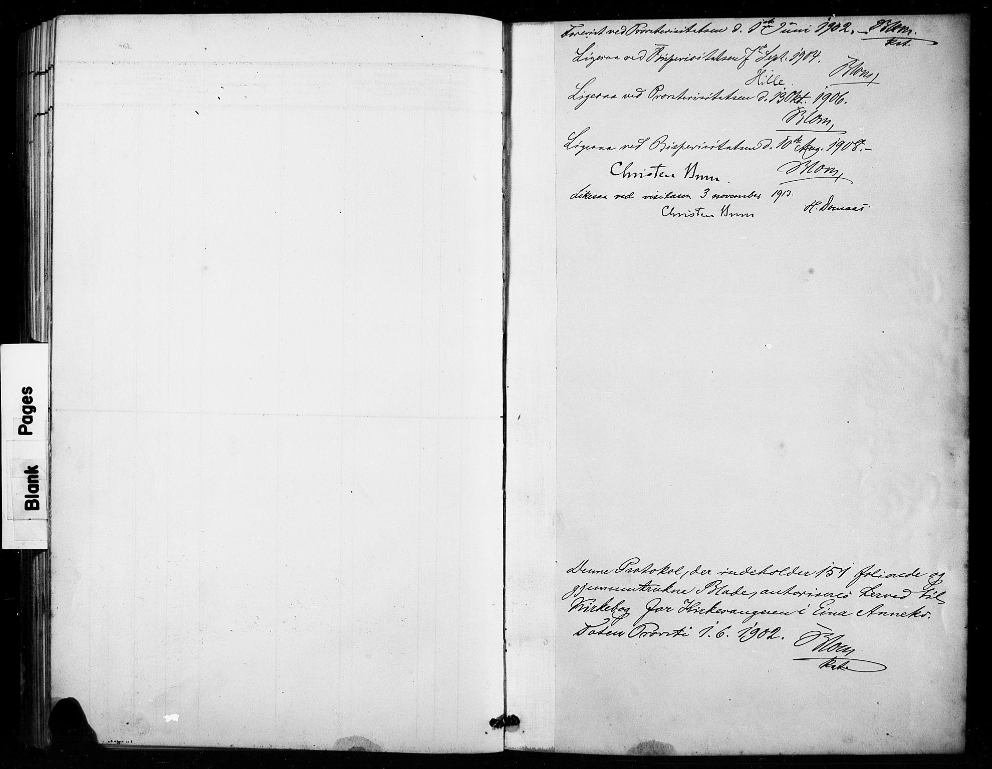 SAH, Vestre Toten prestekontor, H/Ha/Hab/L0016: Klokkerbok nr. 16, 1901-1915