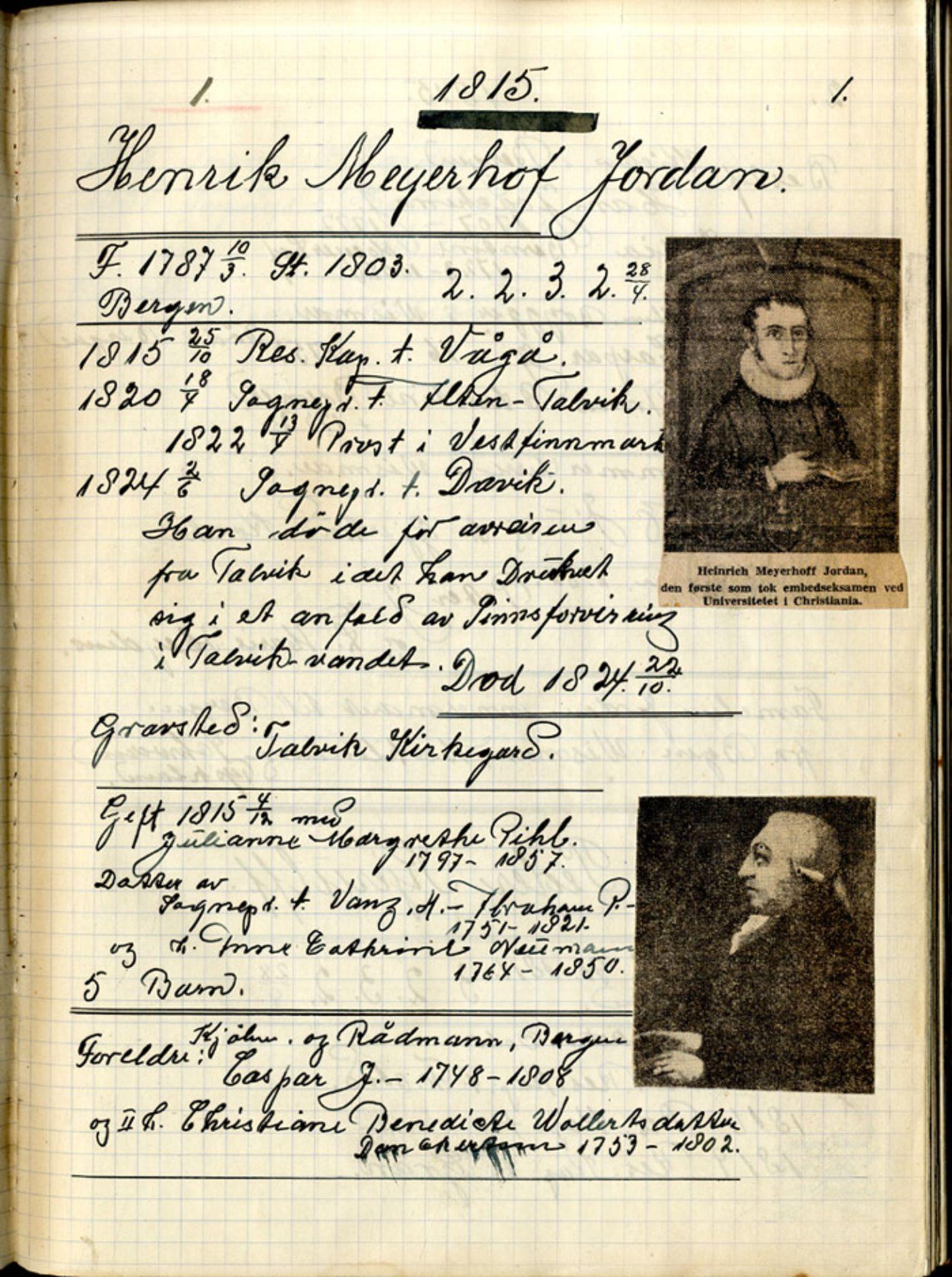 SAB, Stendal, Gunnar - samlinger til norsk prestehistorie, 01/L0001: Norske teologer, 1815-1839