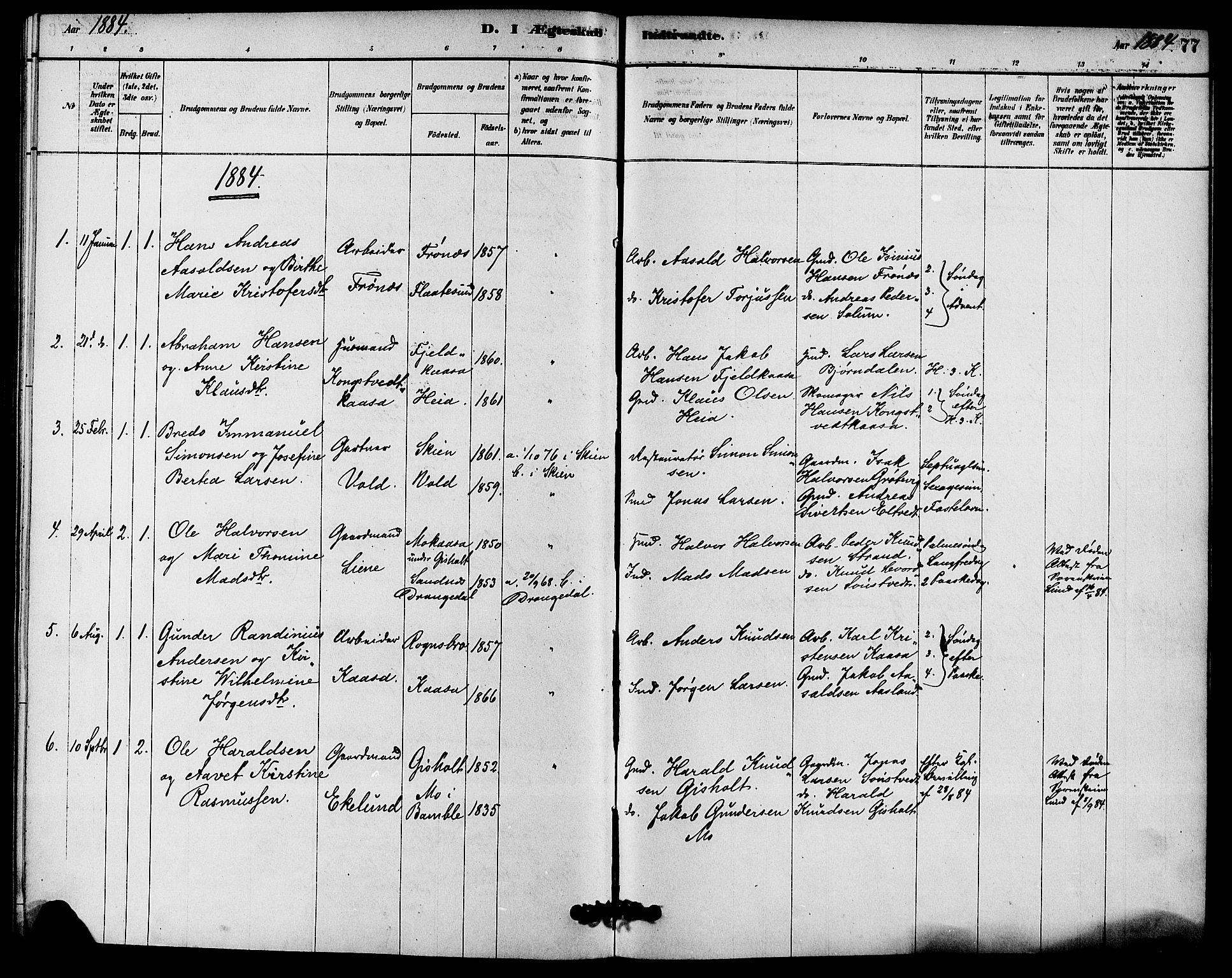 SAKO, Solum kirkebøker, F/Fc/L0001: Ministerialbok nr. III 1, 1877-1891, s. 77