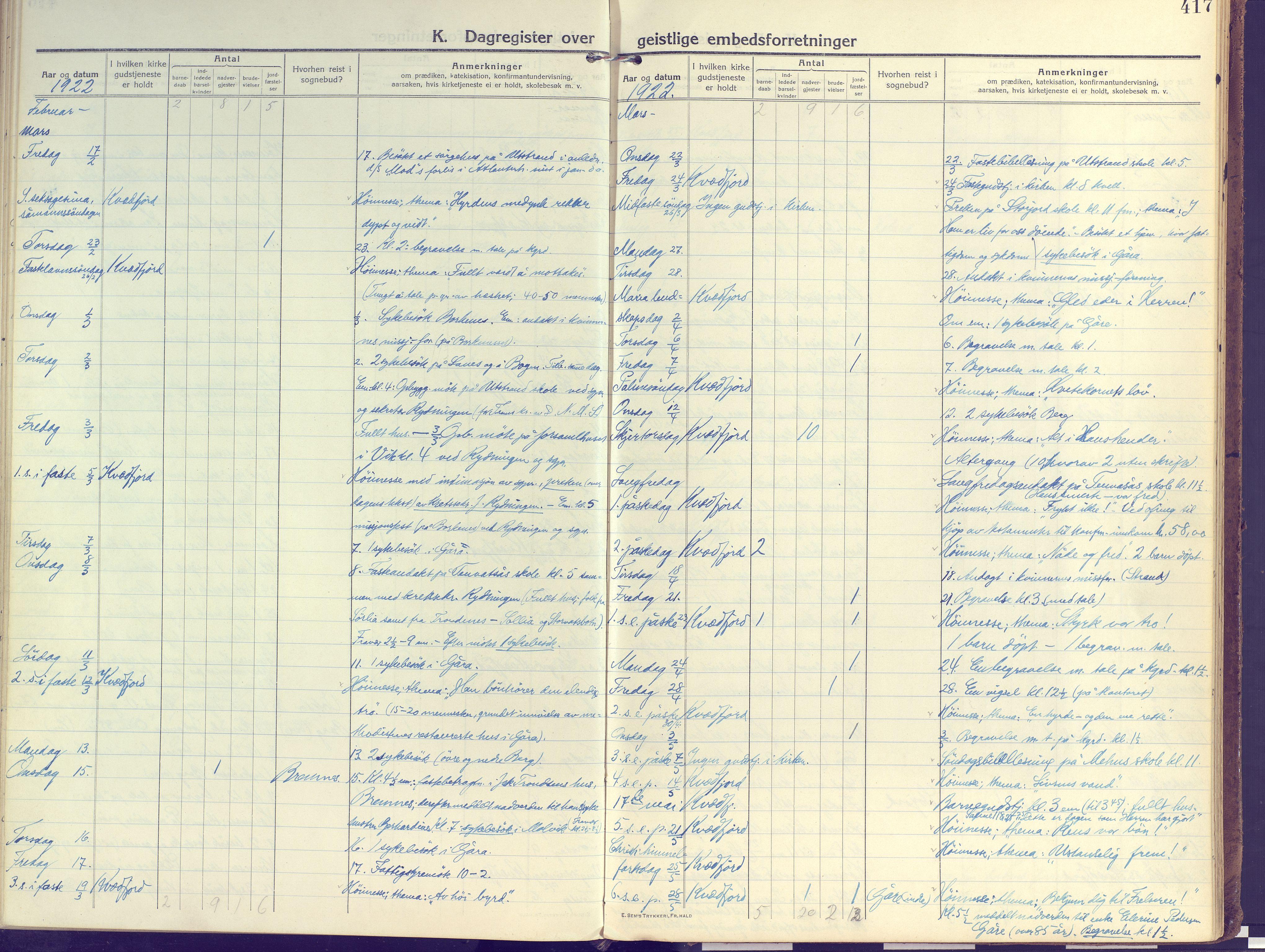 SATØ, Kvæfjord sokneprestkontor, G/Ga/Gaa/L0007kirke: Ministerialbok nr. 7, 1915-1931, s. 417